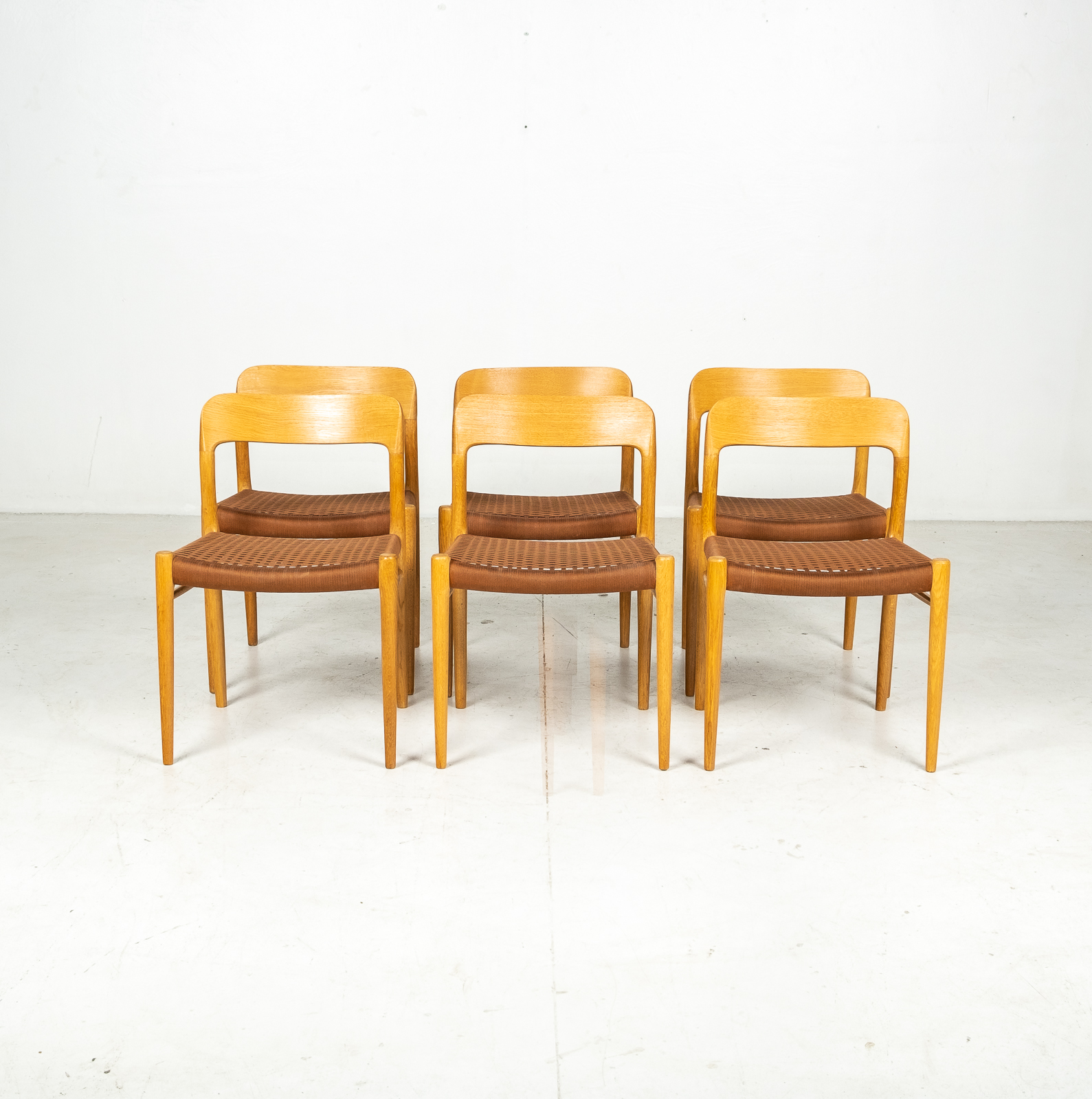 Set Of 6 Model 75 Dining Chairs By Neils Moller For J. L. Moller Mobelfabrik In Oak With Wool Cord, 1960s, Denmark2