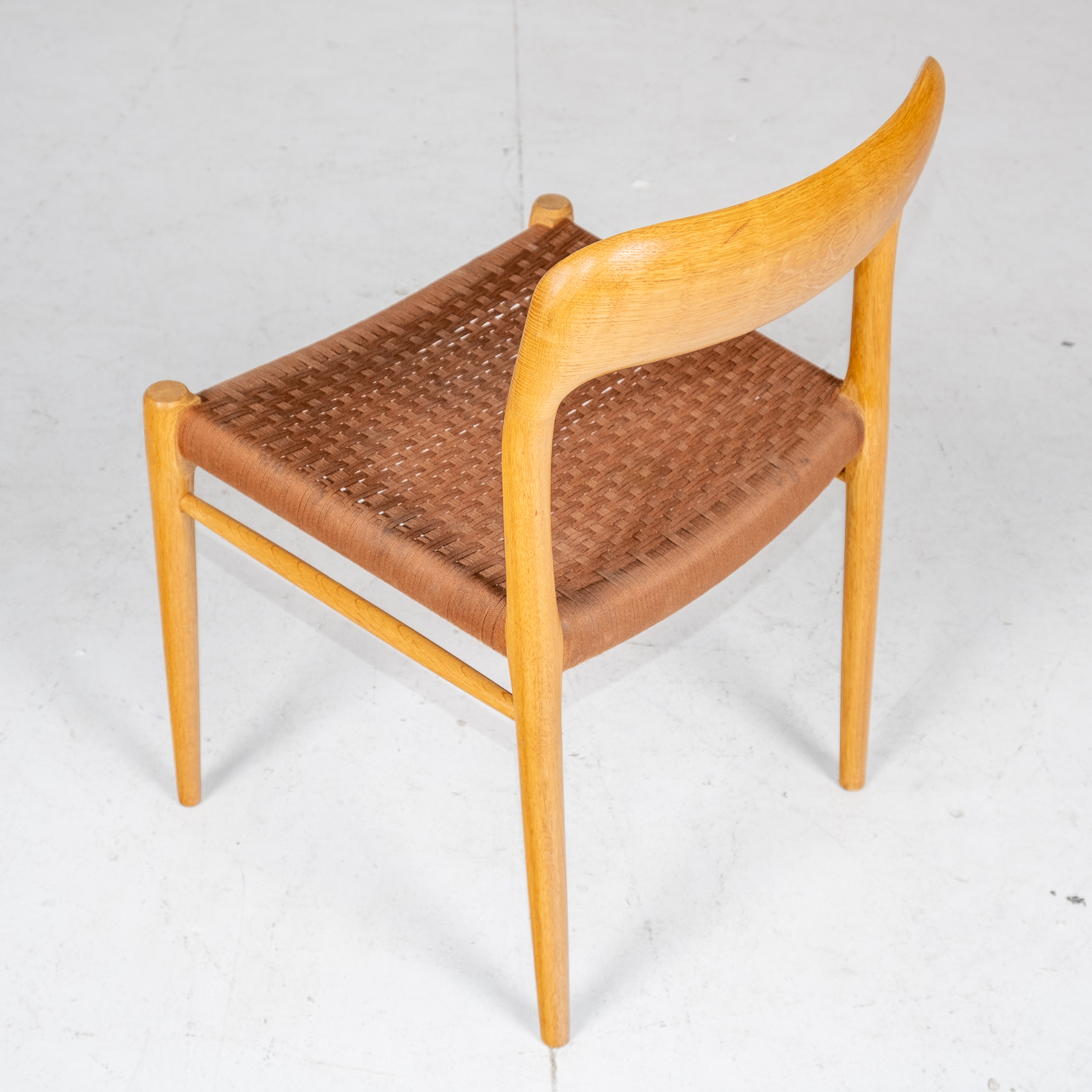 Set Of 6 Model 75 Dining Chairs By Neils Moller For J. L. Moller Mobelfabrik In Oak With Wool Cord, 1960s, Denmark6