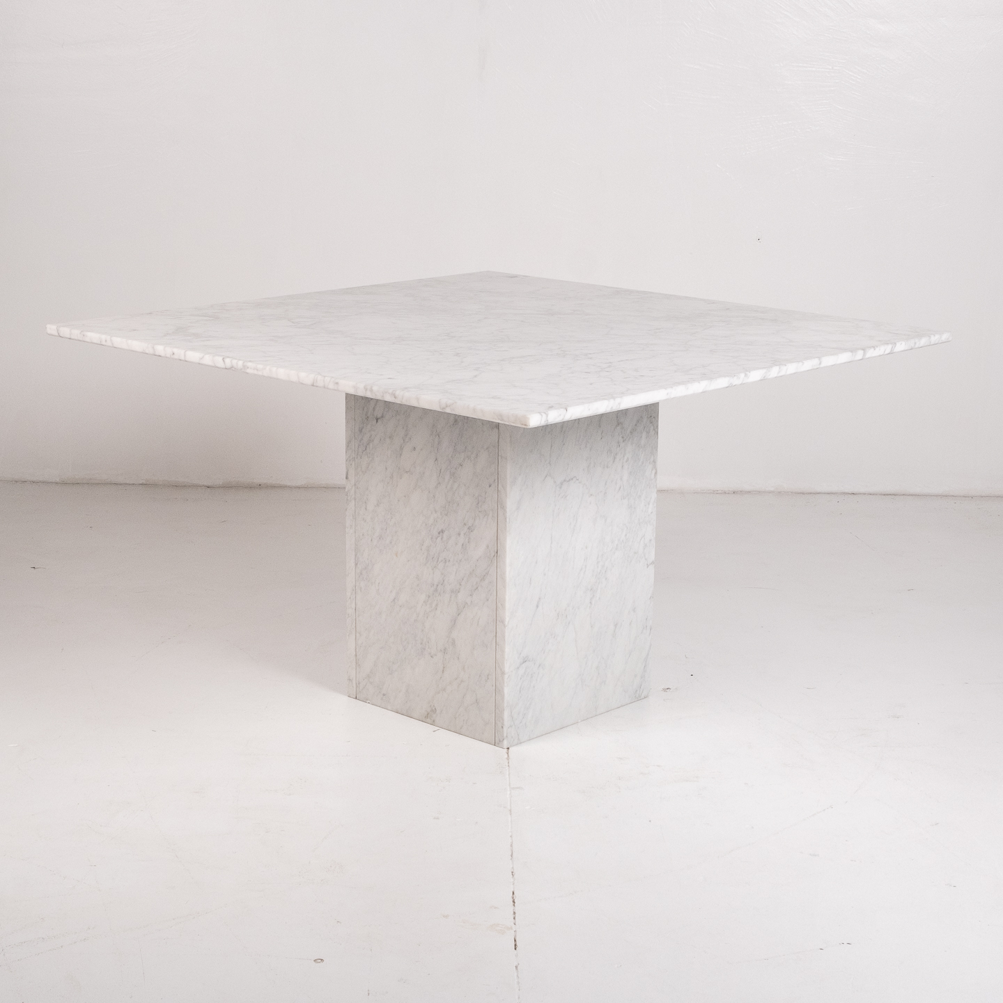 Square Dining Table In White Carrara Marble, Italy, 1980s 611