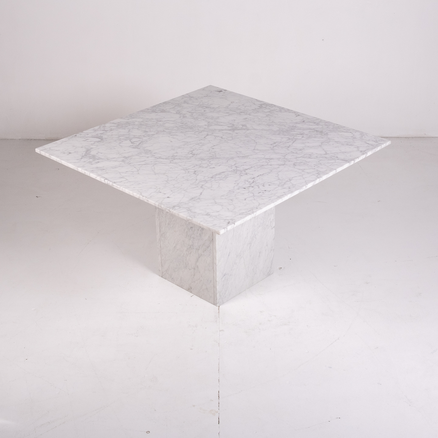 Square Dining Table In White Carrara Marble, Italy, 1980s 612