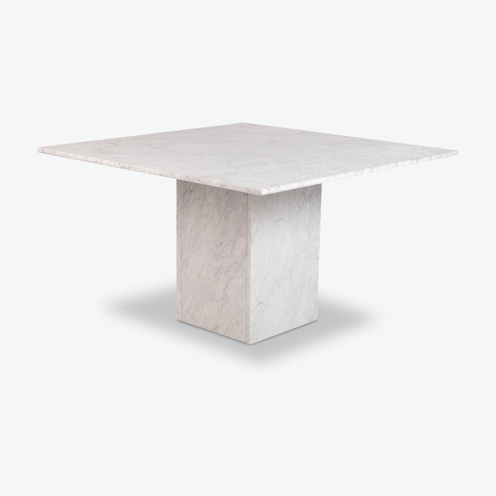 Square Dining Table In White Carrara Marble, Italy, 1980s Hero