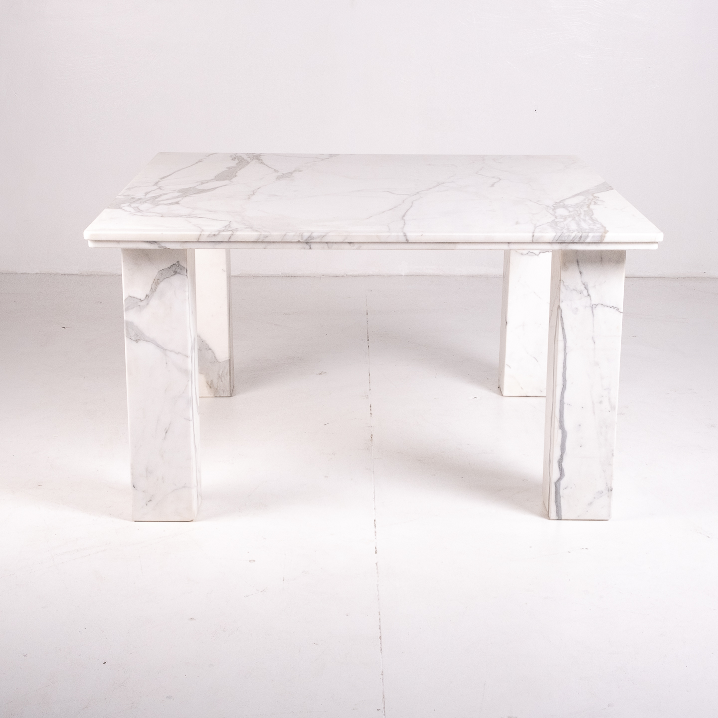 Square Dining Table In White Marble With Solid Square Legs, 1960s, The Netherlands 20