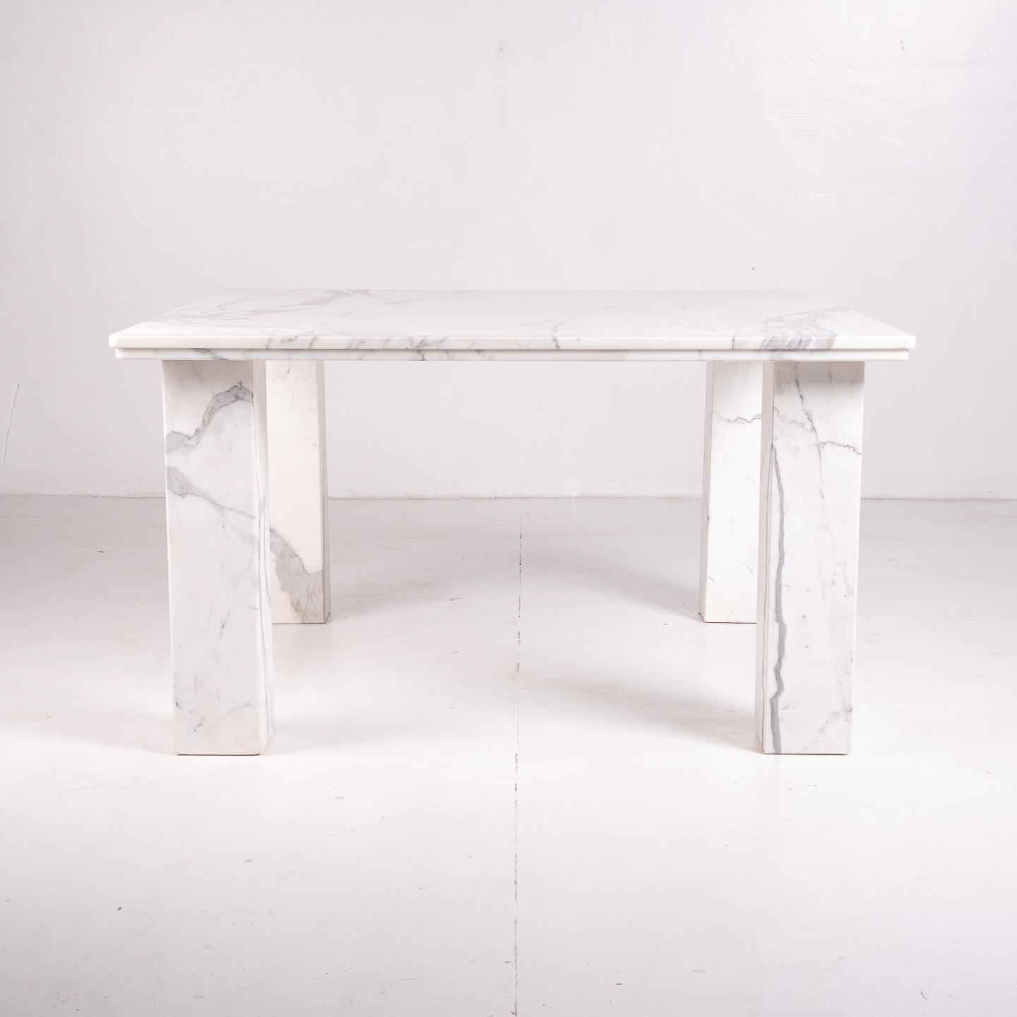 Square Dining Table In White Marble With Solid Square Legs, 1960s, The Netherlands 21