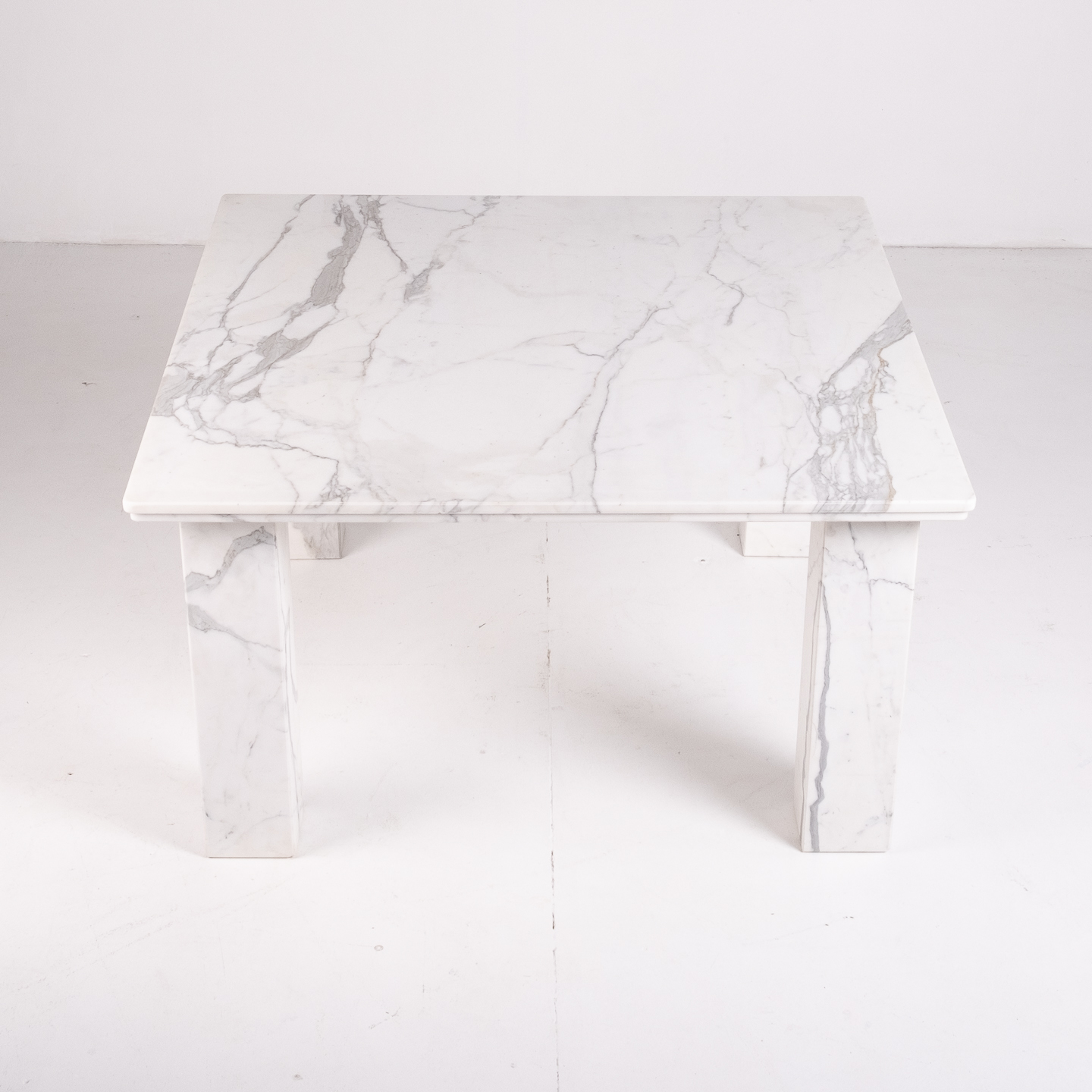 Square Dining Table In White Marble With Solid Square Legs, 1960s, The Netherlands 23