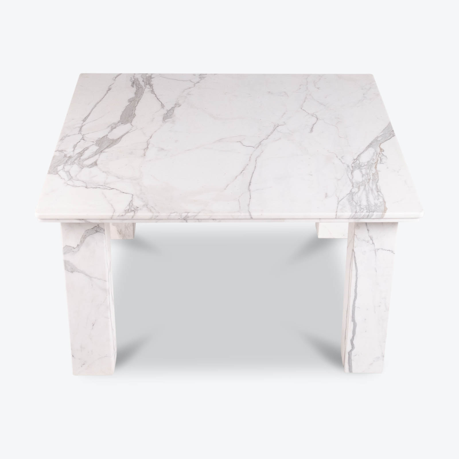 Square Dining Table In White Marble With Solid Square Legs, 1960s, The Netherlands Hero