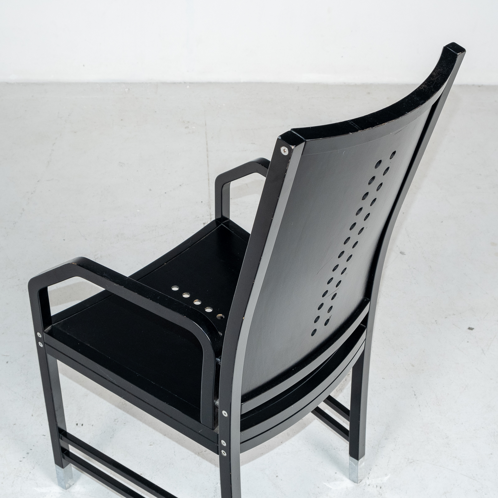 Thonet Chair In Black Hoffmann Style, 1980s, Germany05