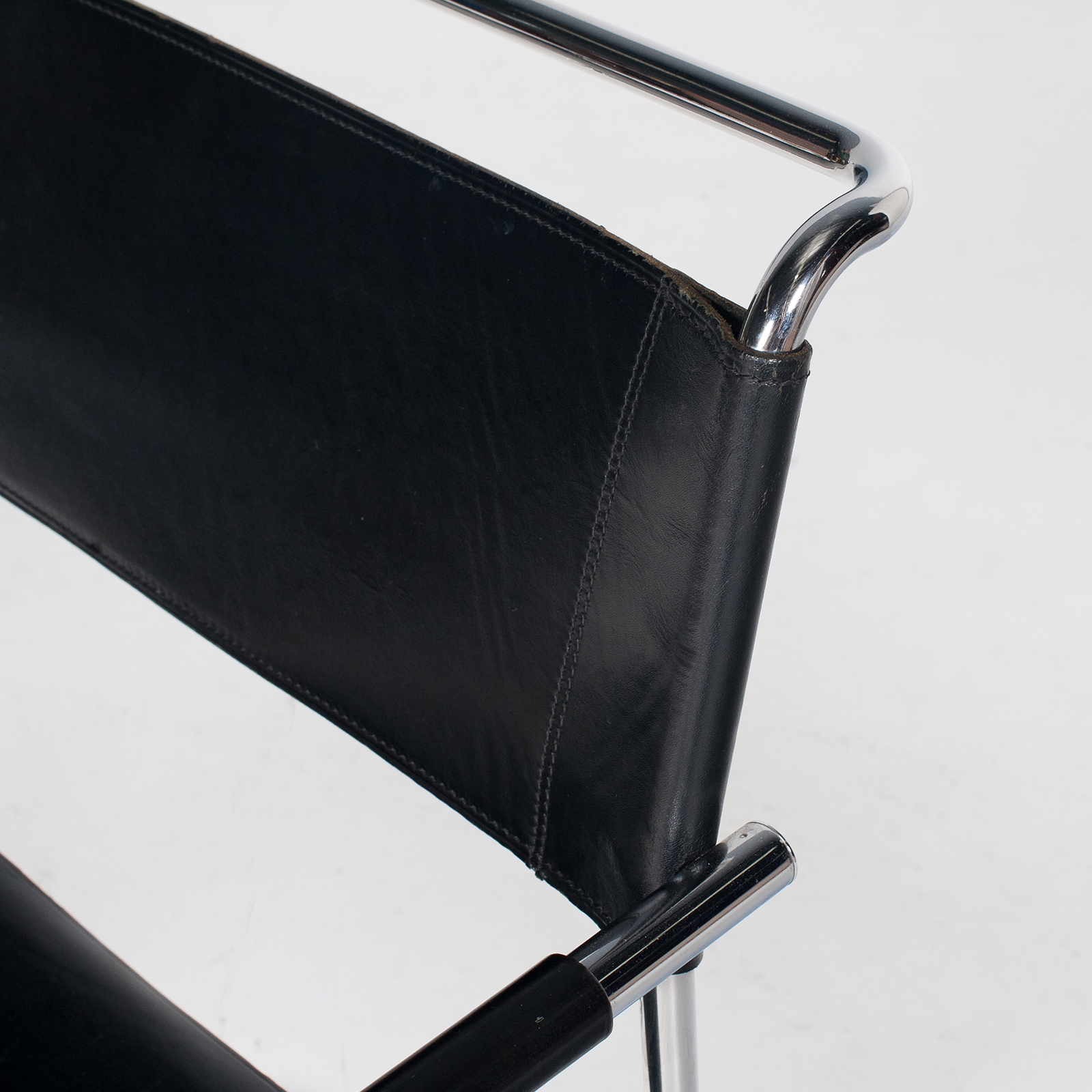 Set Of Four Cantilever Dining Chairs In Black Leather And Chrome By Mart Stam For Thonet, 1970s, The Netherlands 401
