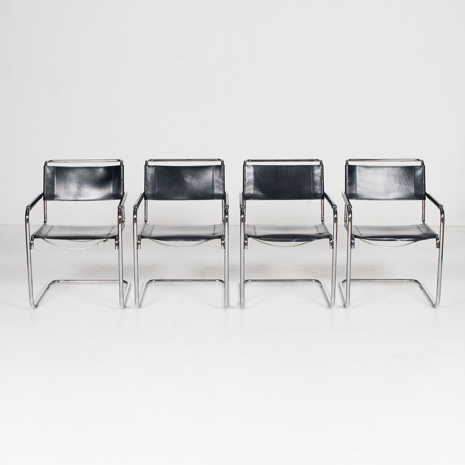 Set Of Four Cantilever Dining Chairs In Black Leather And Chrome By Mart Stam For Thonet, 1970s, The Netherlands 406