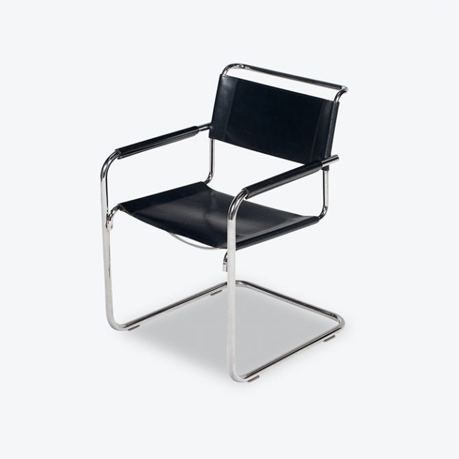 Set Of Four Cantilever Dining Chairs In Black Leather And Chrome By Mart Stam For Thonet, 1970s, The Netherlands Thumb
