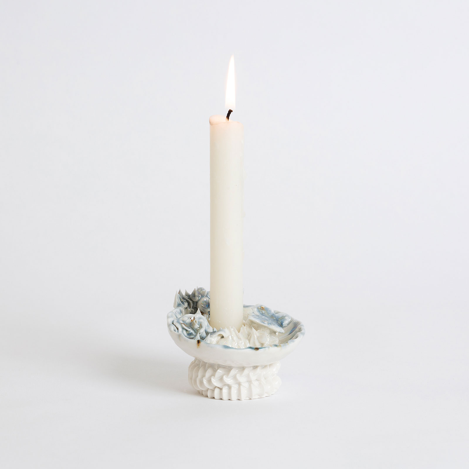 Artificial Kingdom Candleholder In Porcelain With Glaze And Blue Lustre By Ebony Russell Hero