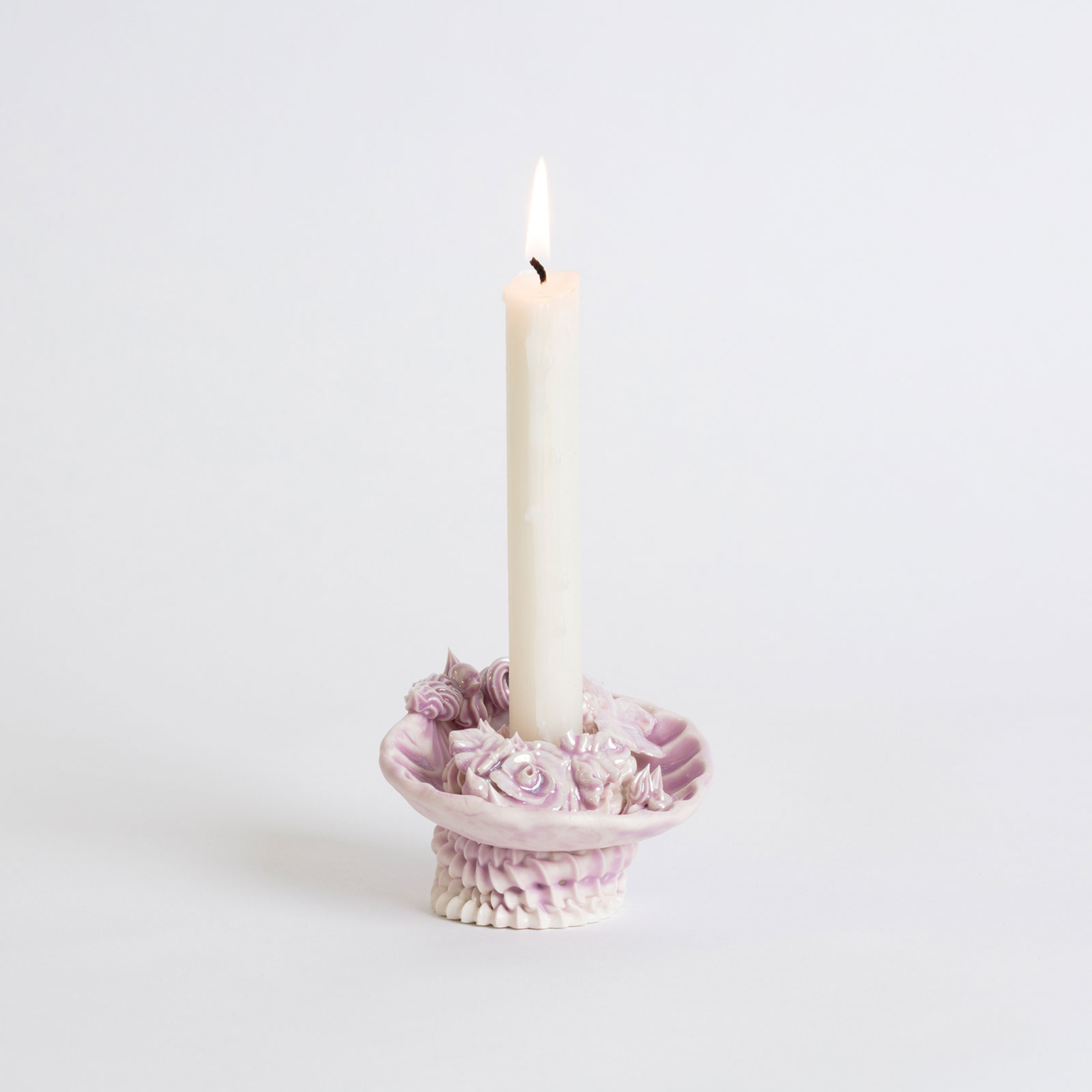 Artificial Kingdom Candleholder In Porcelain With Glaze And Lilac Lustre By Ebony Russell Hero