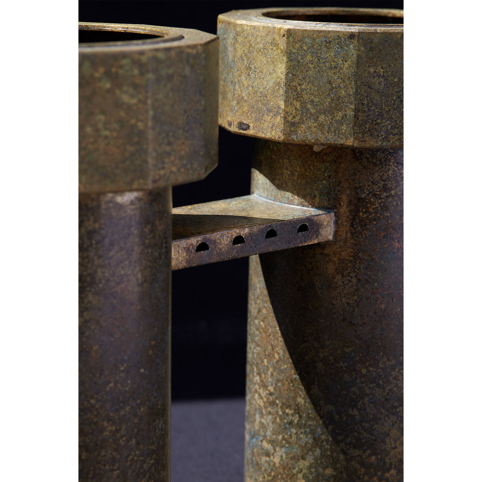 Twin Water Tower Iv In Patinated Brass By Kenny Yong Soo Son 2