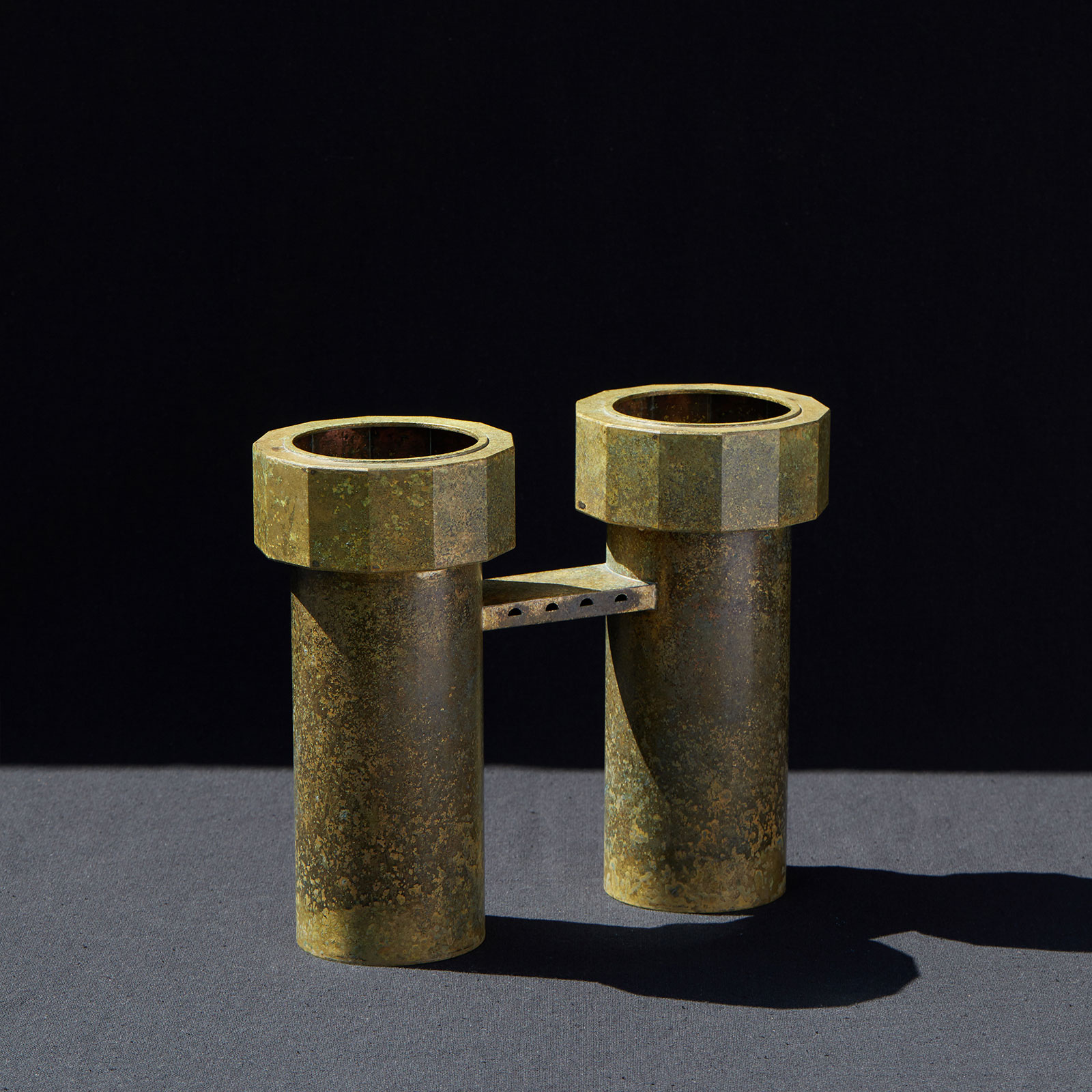 Twin Water Tower Iv In Patinated Brass By Kenny Yong Soo Son Hero