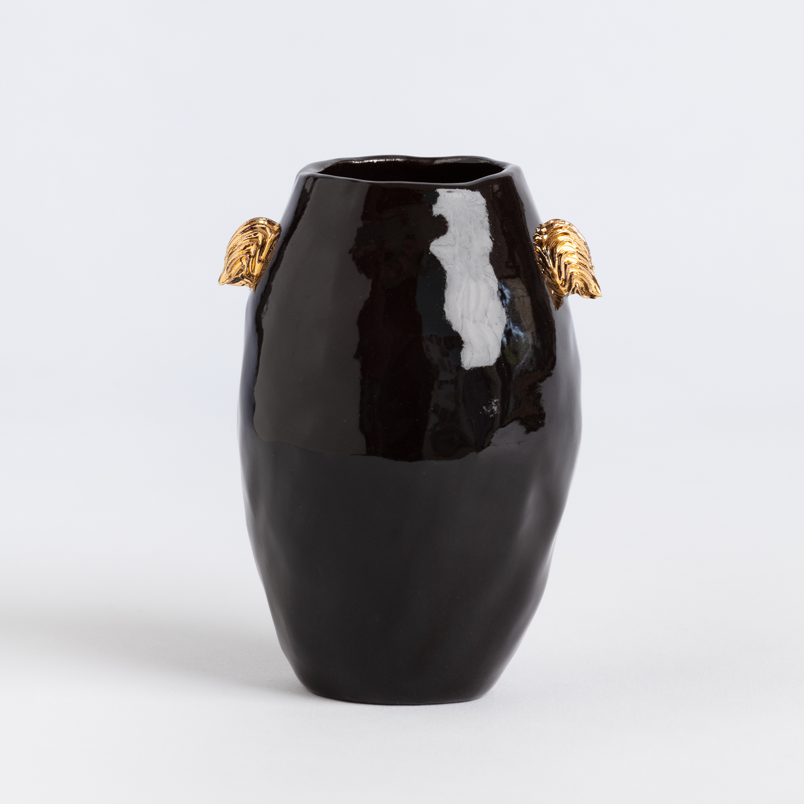 Black Column Vessel With Gold Lugs Ebony Russell Hero