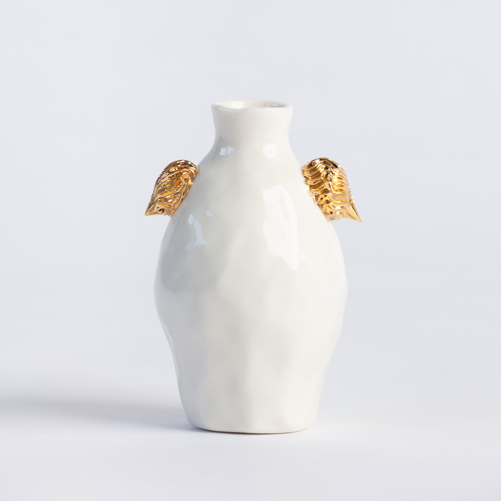 White Vessel With Gold Lugs I Ebony Russell Hero