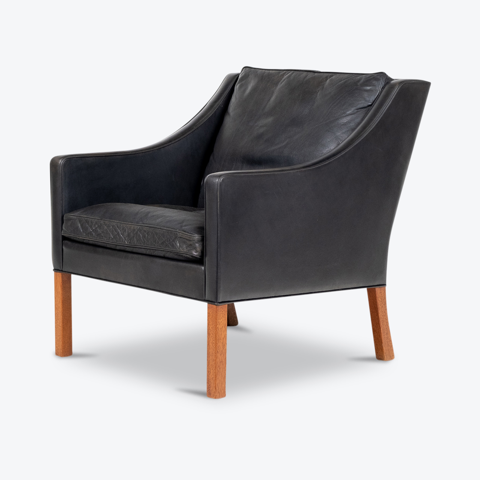 Model 2207 Armchair With Footstool Designed By Borge Mogensen For Fredericia Mobelfabrik In Black Leather, 1960s, Denmark Hero