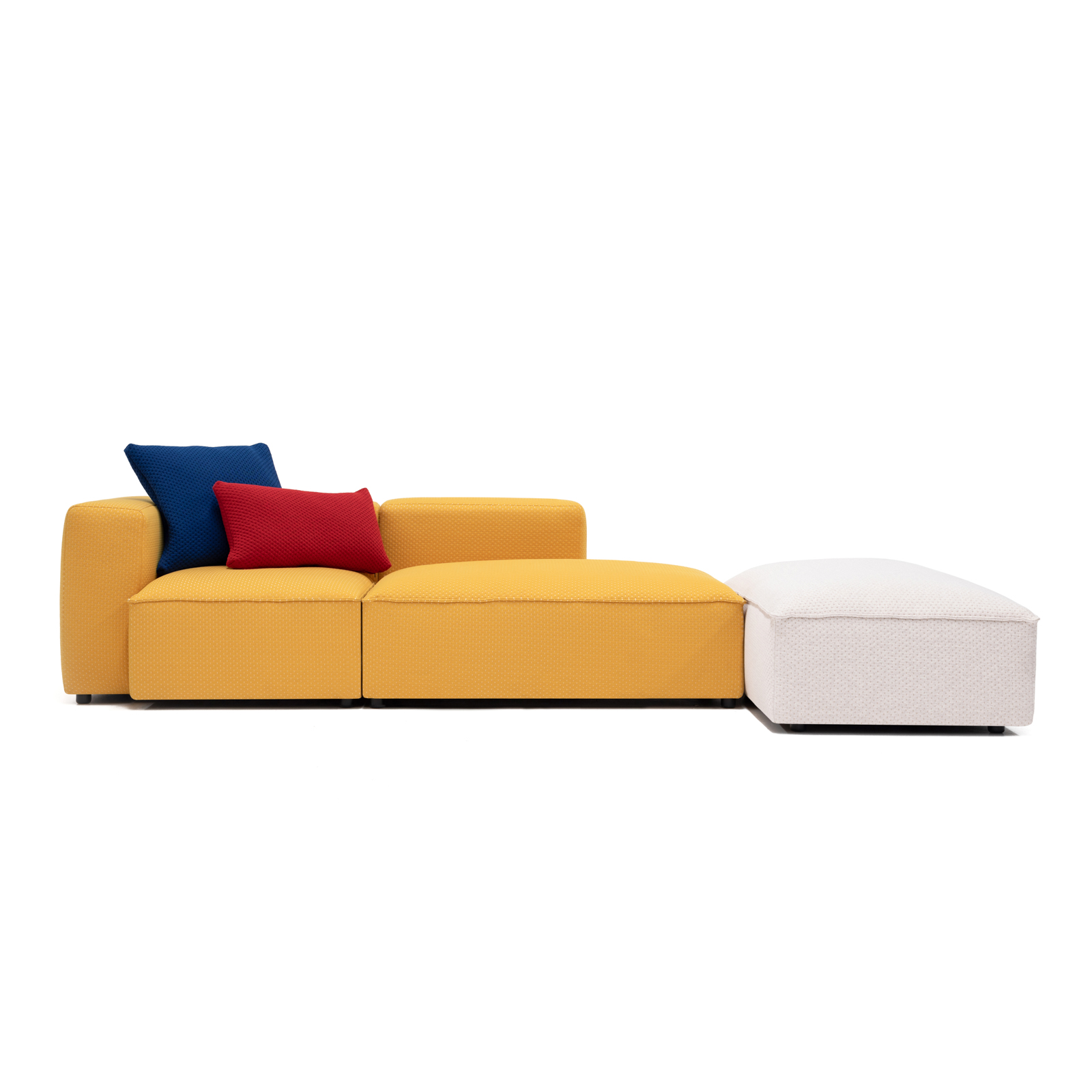 Permanent Future Easey Sofa Chasie Left Zoom Yellow Navy Red Cushion Cream Ottoman Pf Sf Ea Ch L Zy Front View