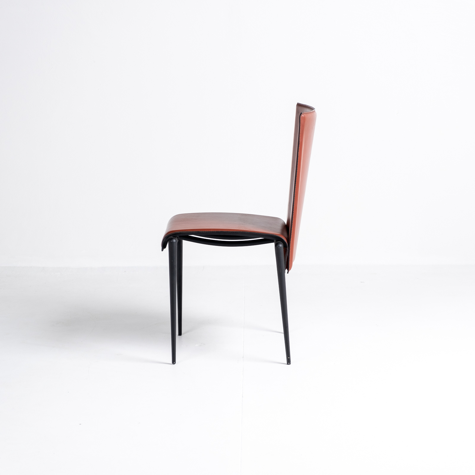 High Back Chair By Cidue In Red Leather, 1970s, Italy 01