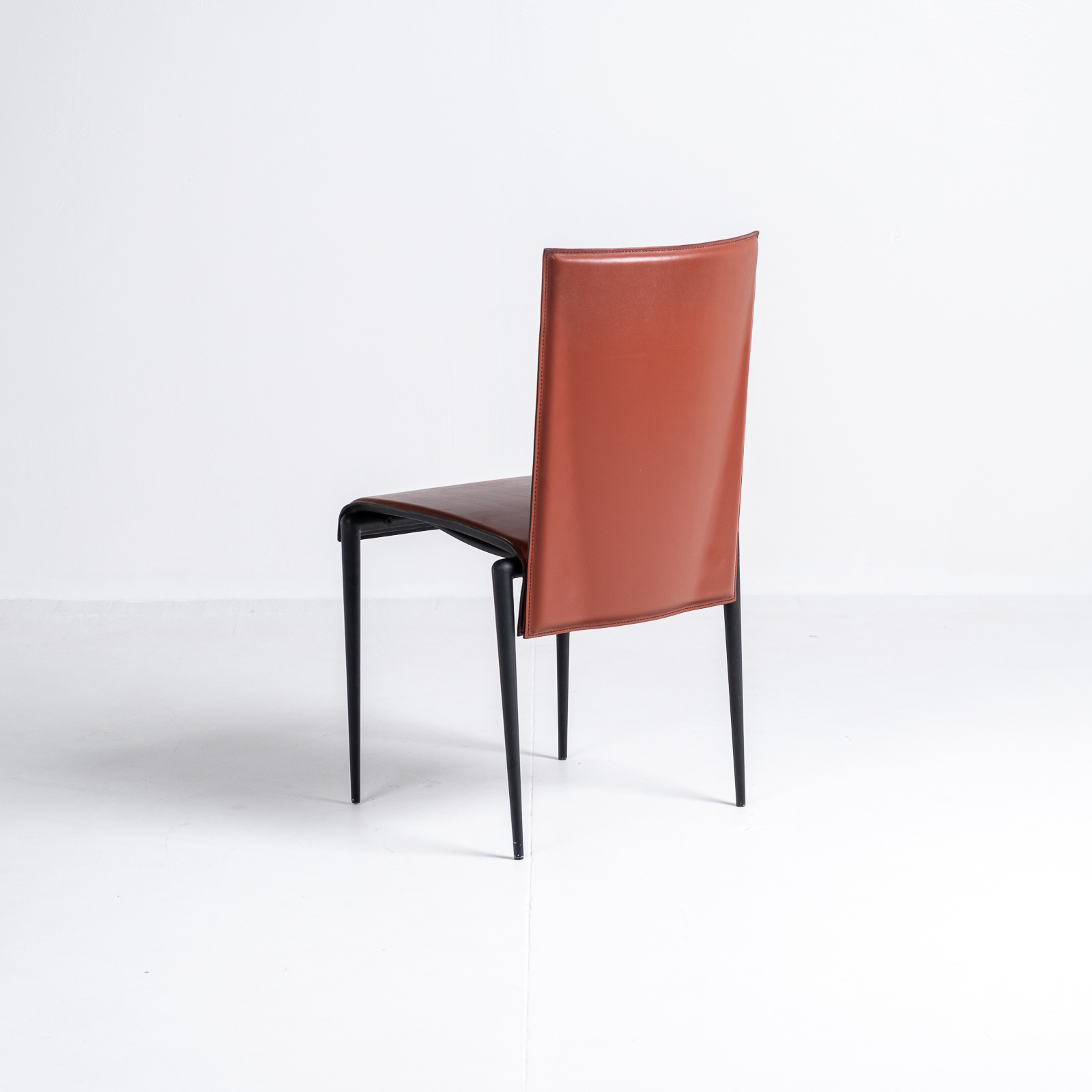 High Back Chair By Cidue In Red Leather, 1970s, Italy 02