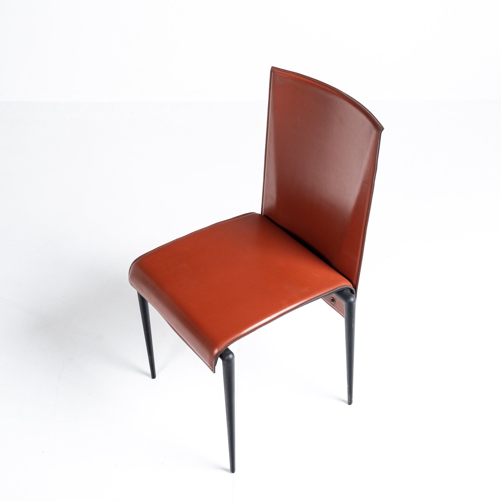 High Back Chair By Cidue In Red Leather, 1970s, Italy Hero