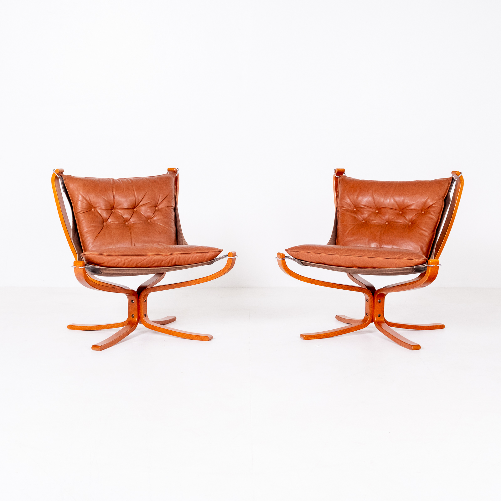 Low Back Falcon Armchair In Tan Leather By Sigurd Ressell For Vatne Mobler, 1971, Norway 01