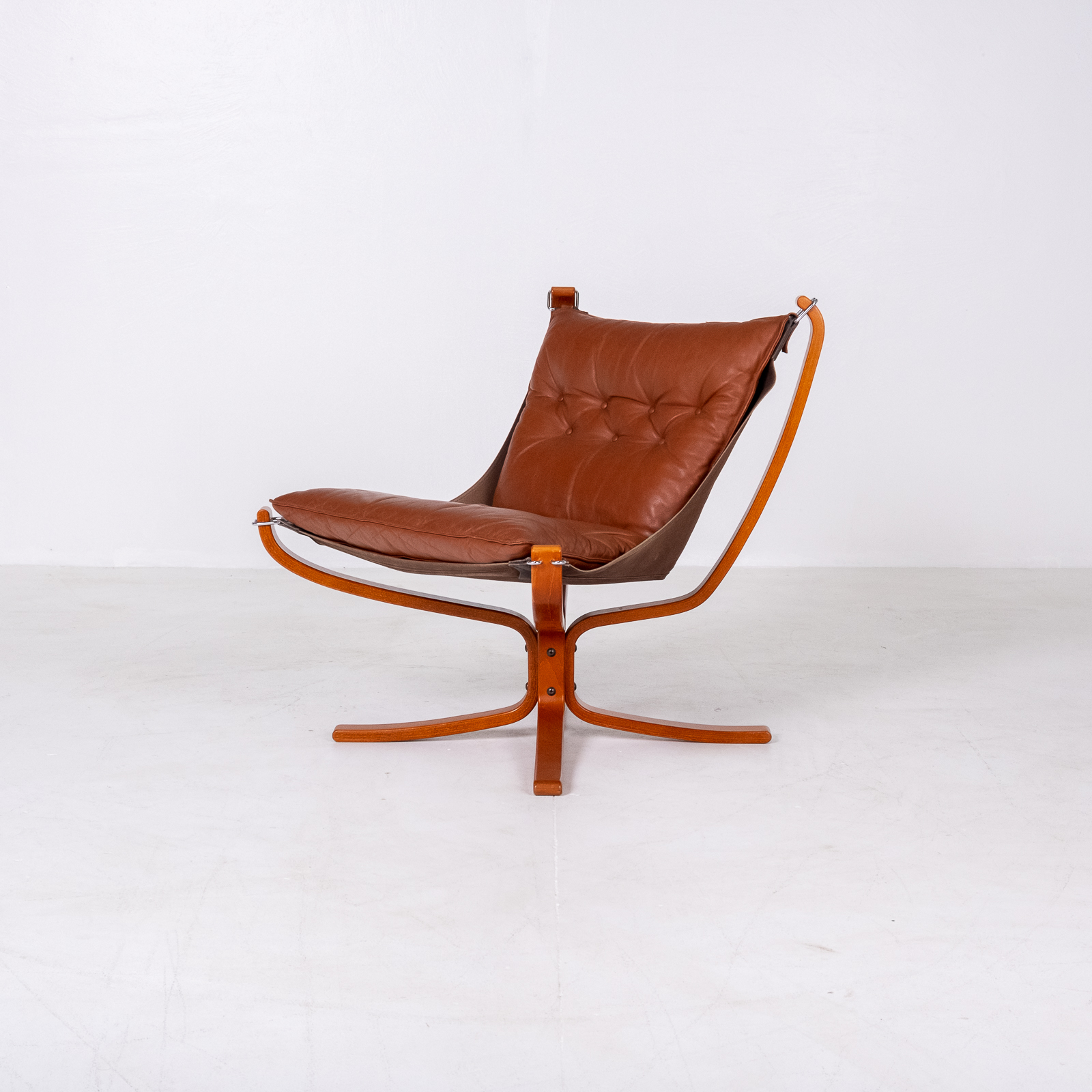Low Back Falcon Armchair In Tan Leather By Sigurd Ressell For Vatne Mobler, 1971, Norway 05