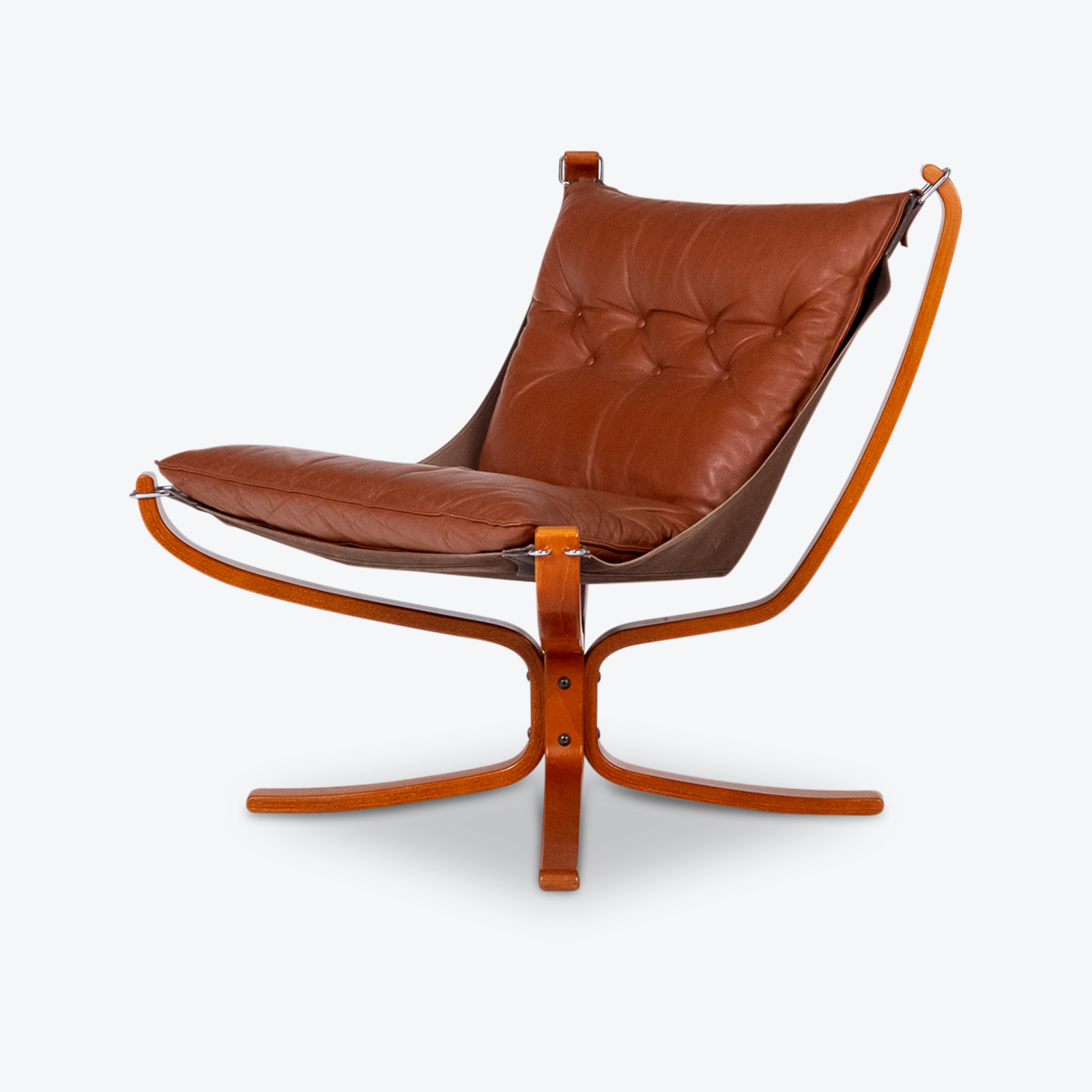 Low Back Falcon Armchair In Tan Leather By Sigurd Ressell For Vatne Mobler, 1971, Norway Hero