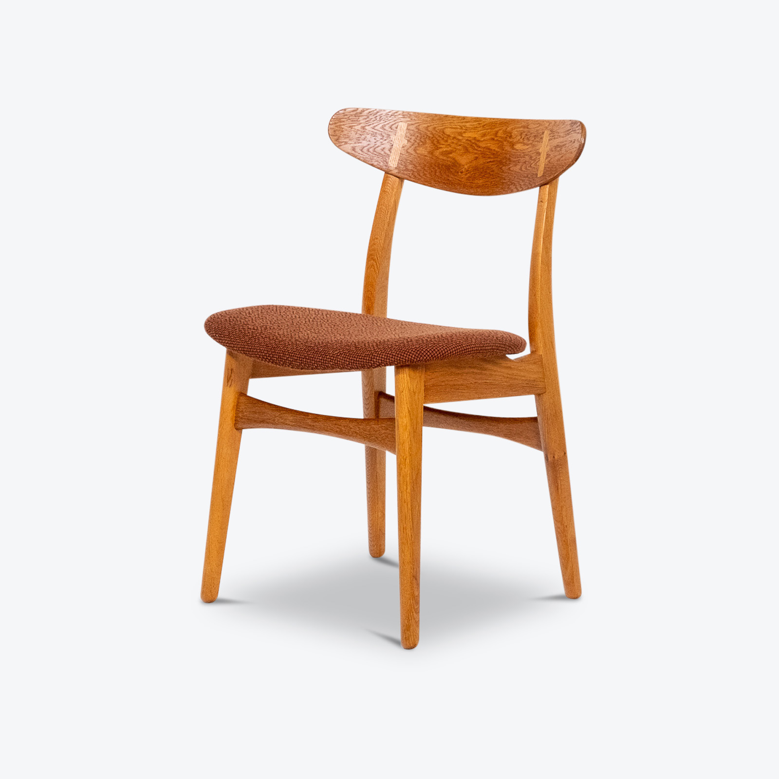 Set Of 4 Ch 30 Dining Chairs By Hans Wegner For Carl Hansen And Son In Oak And Kvadart Upholstery, 1950s, Denmark 08 Copy