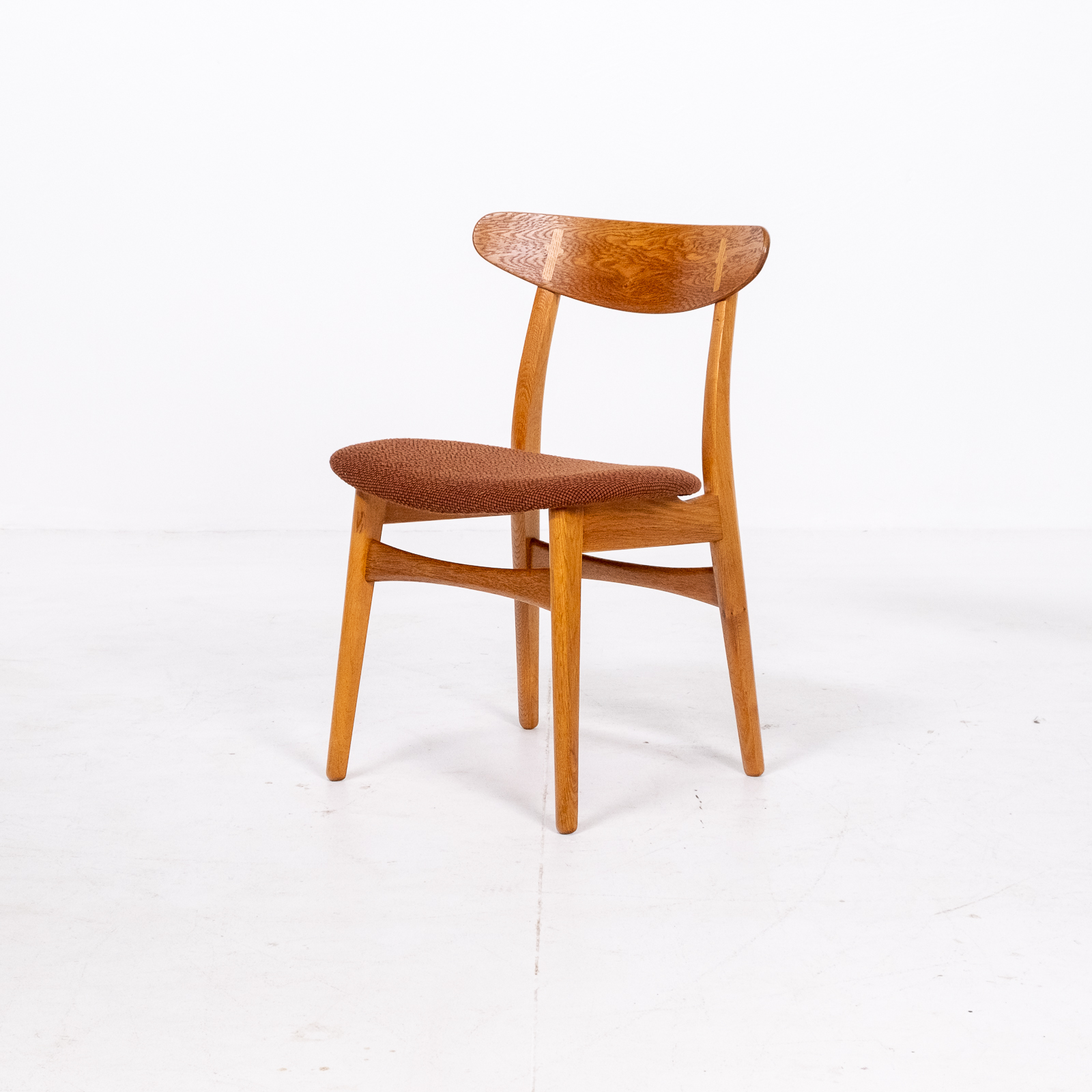 Set Of 4 Ch 30 Dining Chairs By Hans Wegner For Carl Hansen And Son In Oak And Kvadart Upholstery, 1950s, Denmark 08