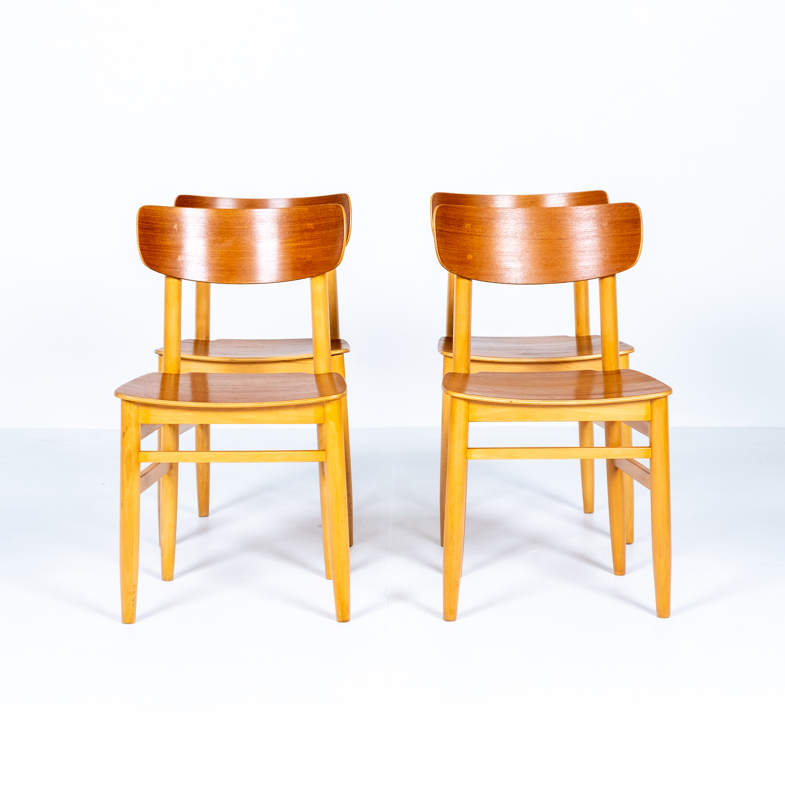 Set Of Four Dining Chairs In Beech And Oak, 1960s, Sweden 06