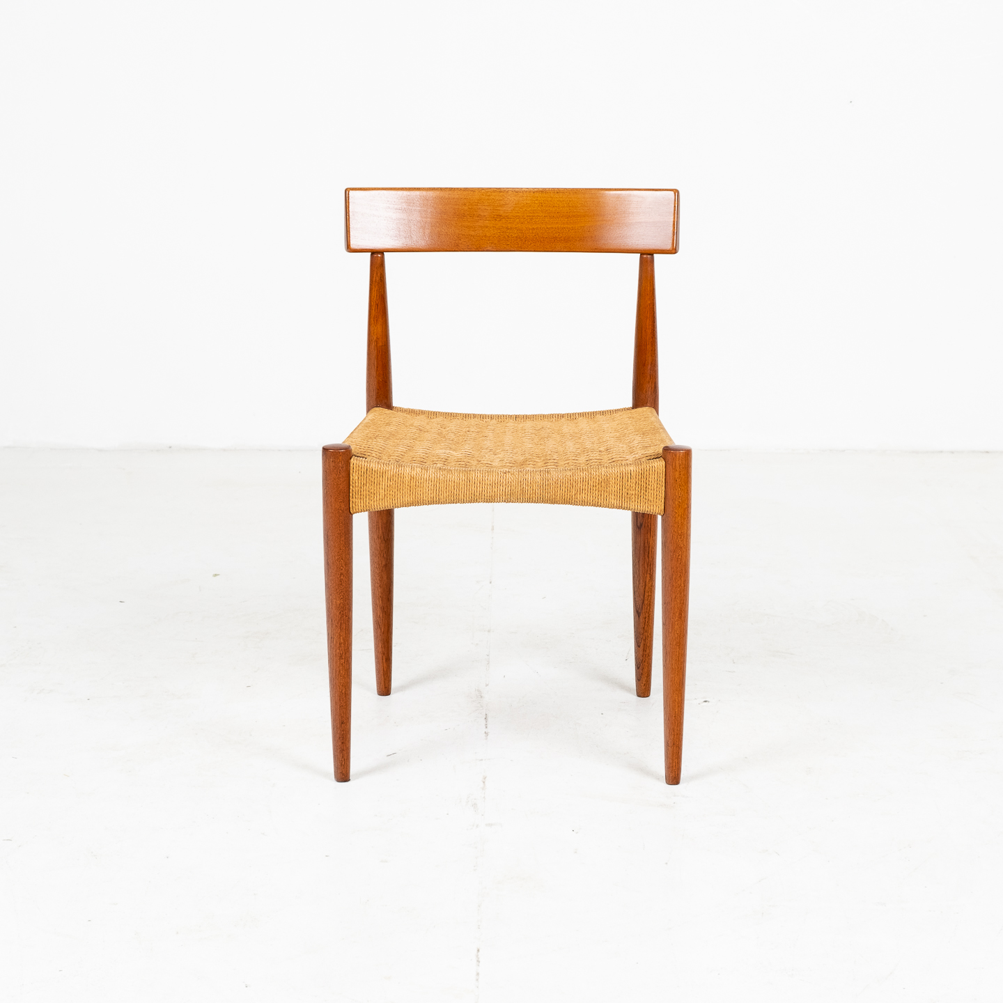 Set Of Four Dining Chairs In Teak And Danish Cord By Mk Danish, 1950s, Denmark 01