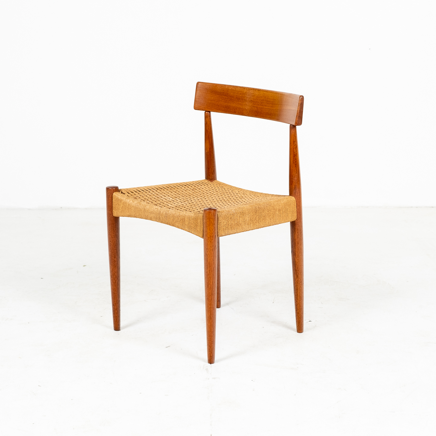 Set Of Four Dining Chairs In Teak And Danish Cord By Mk Danish, 1950s, Denmark 03