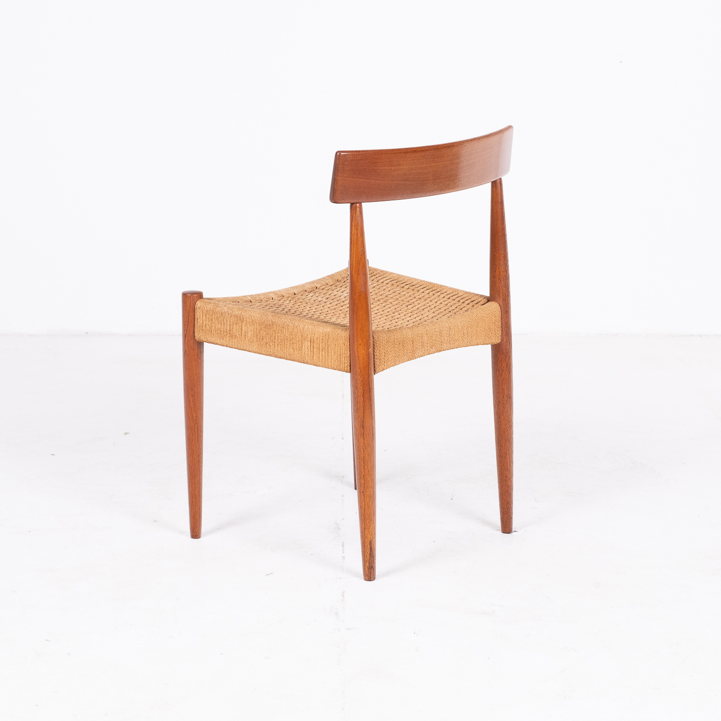 Set Of Four Dining Chairs In Teak And Danish Cord By Mk Danish, 1950s, Denmark 05