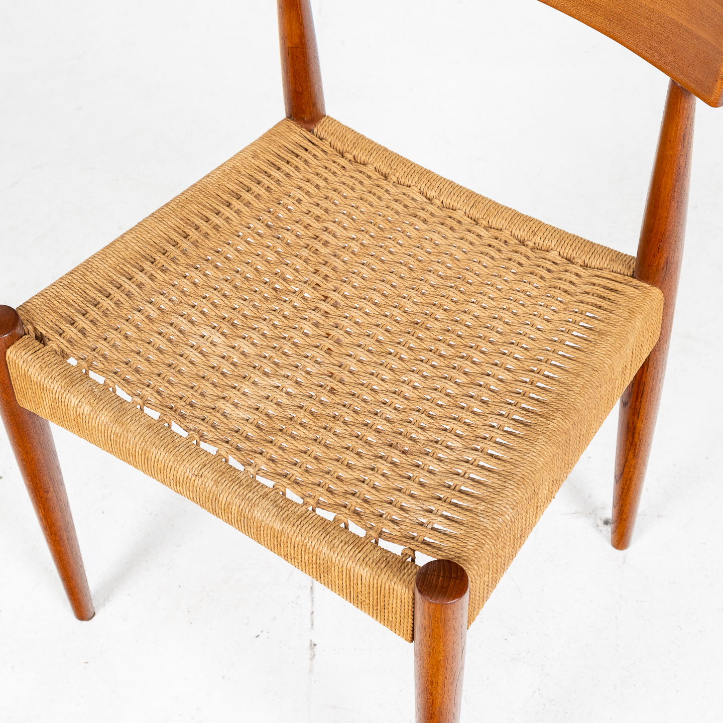 Set Of Four Dining Chairs In Teak And Danish Cord By Mk Danish, 1950s, Denmark 06