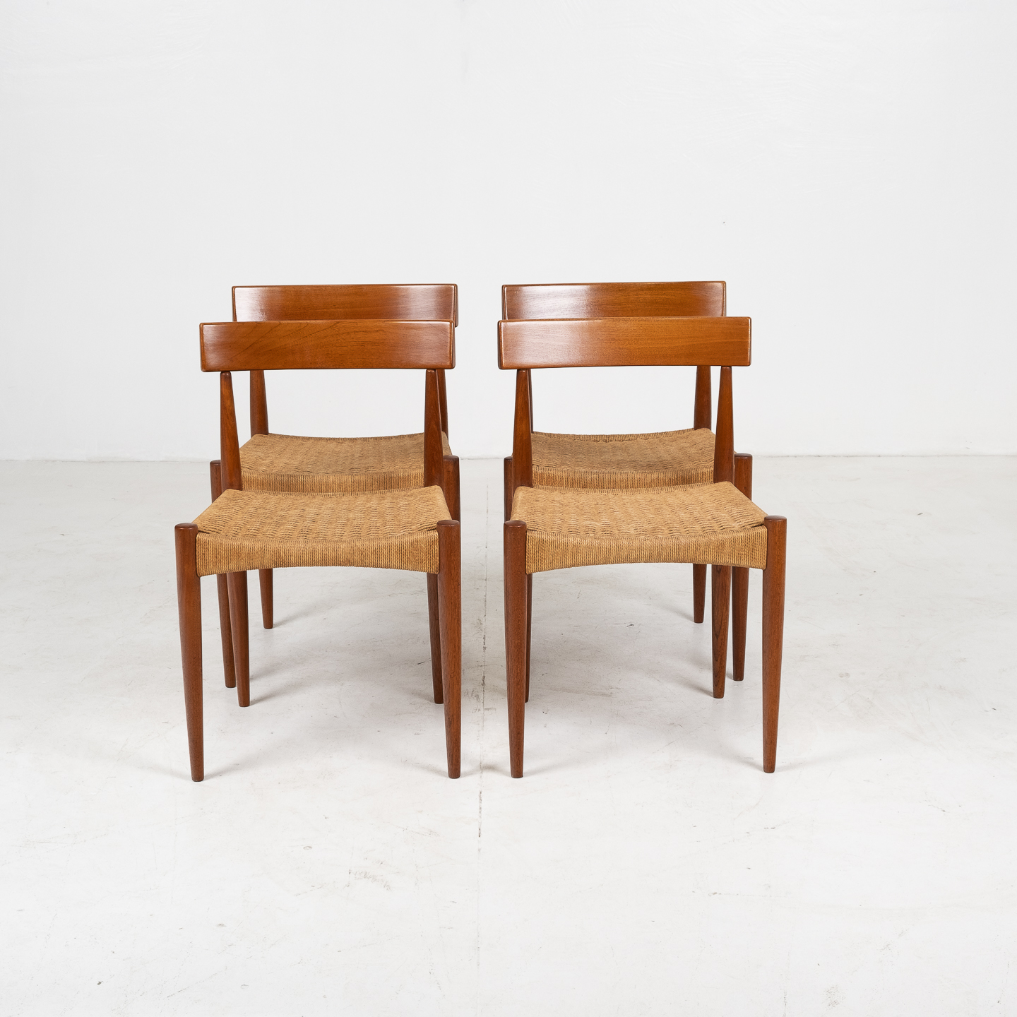Set Of Four Dining Chairs In Teak And Danish Cord By Mk Danish, 1950s, Denmark 08