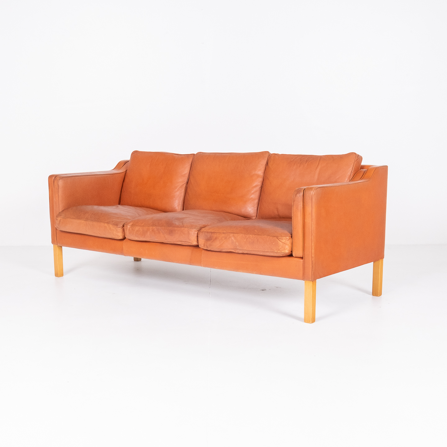 3 Seat Sofa In Tan Leather By Thams, 1960s, Denmark00002