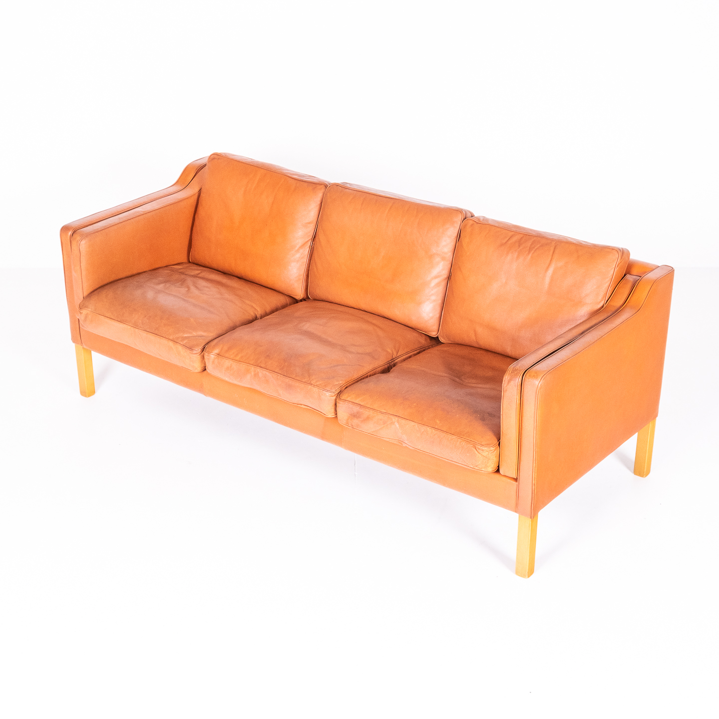 3 Seat Sofa In Tan Leather By Thams, 1960s, Denmark00003