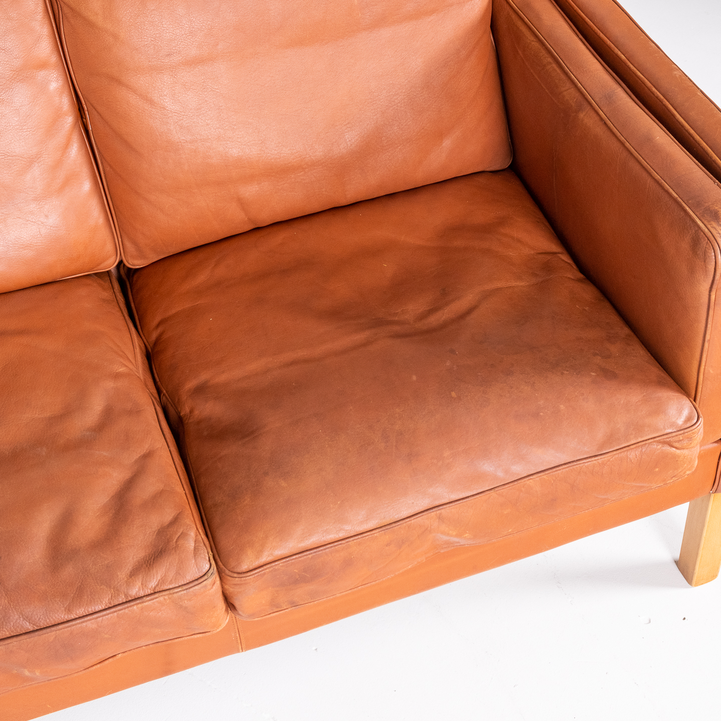3 Seat Sofa In Tan Leather By Thams, 1960s, Denmark00005