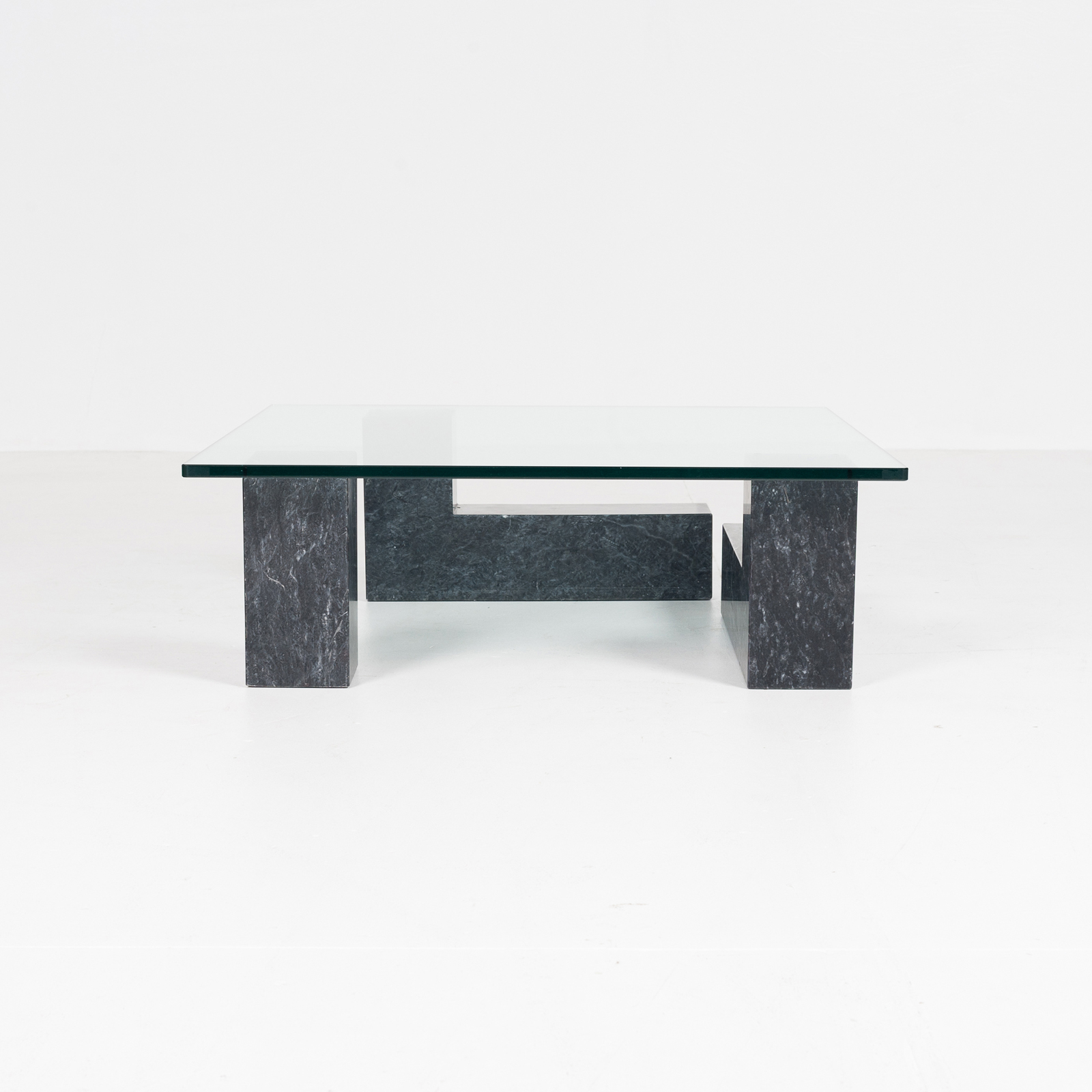Coffee Table In Black Carrara Marble, 3 Elements With Glass Top, Dutch 1980s1
