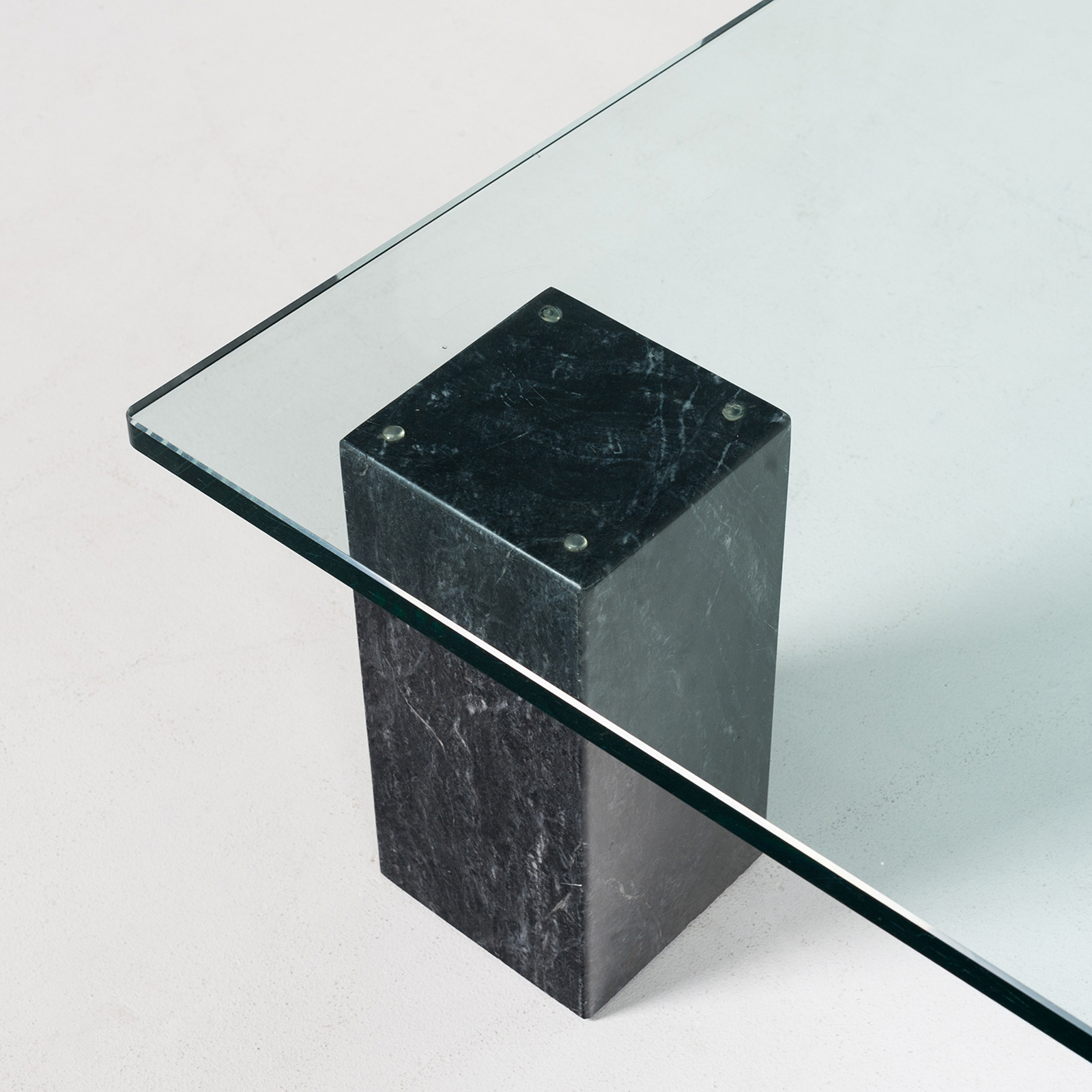 Coffee Table In Black Carrara Marble, 3 Elements With Glass Top, Dutch 1980s3