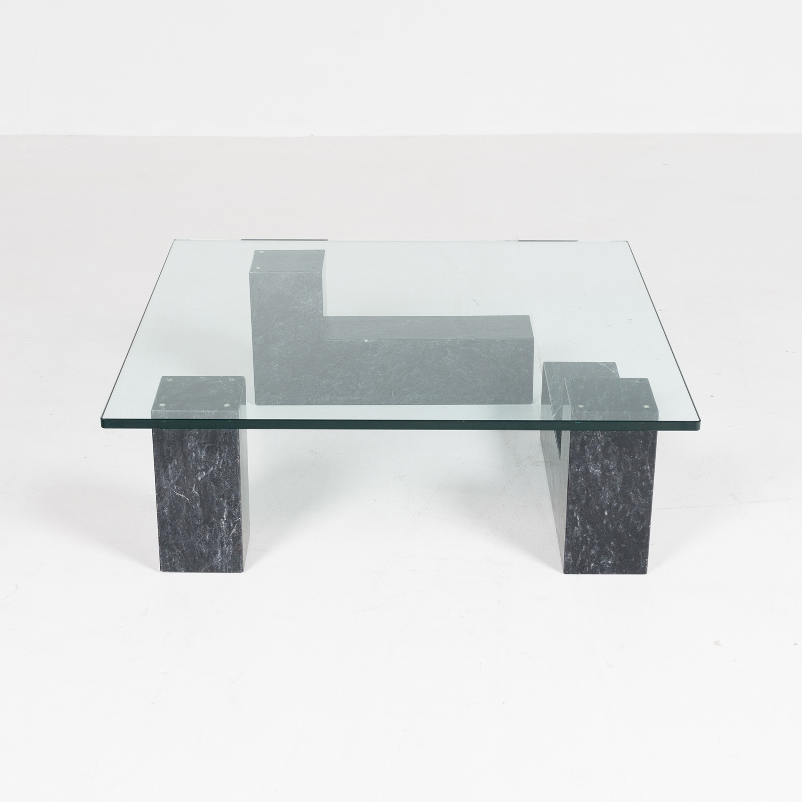 Hero Coffee Table In Black Carrara Marble, 3 Elements With Glass Top, Dutch 1980s