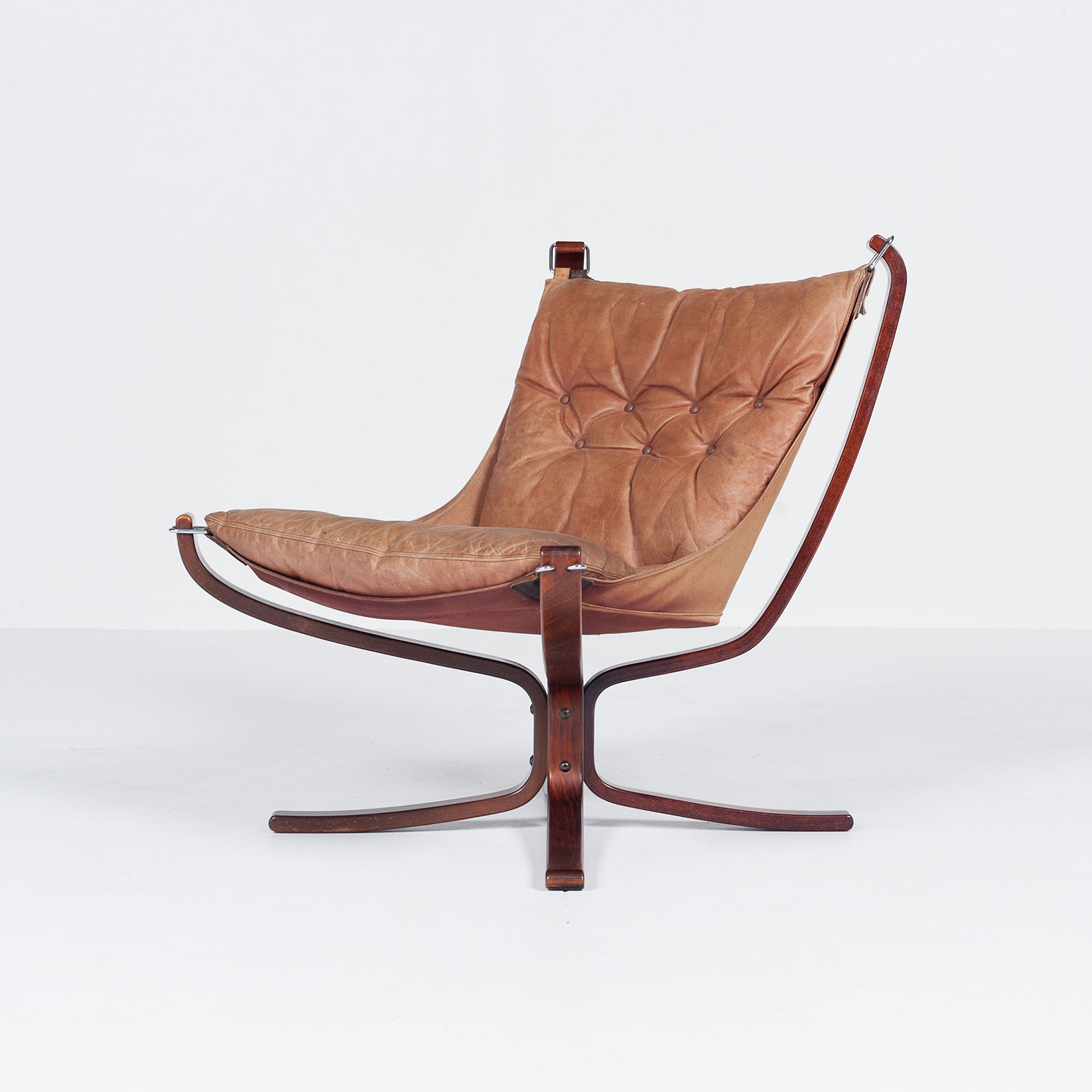 Low Back Falcon Armchair In Tan Leather By Sigurd Ressell For Vatne Mobler, 1971, Norway Hero 6701