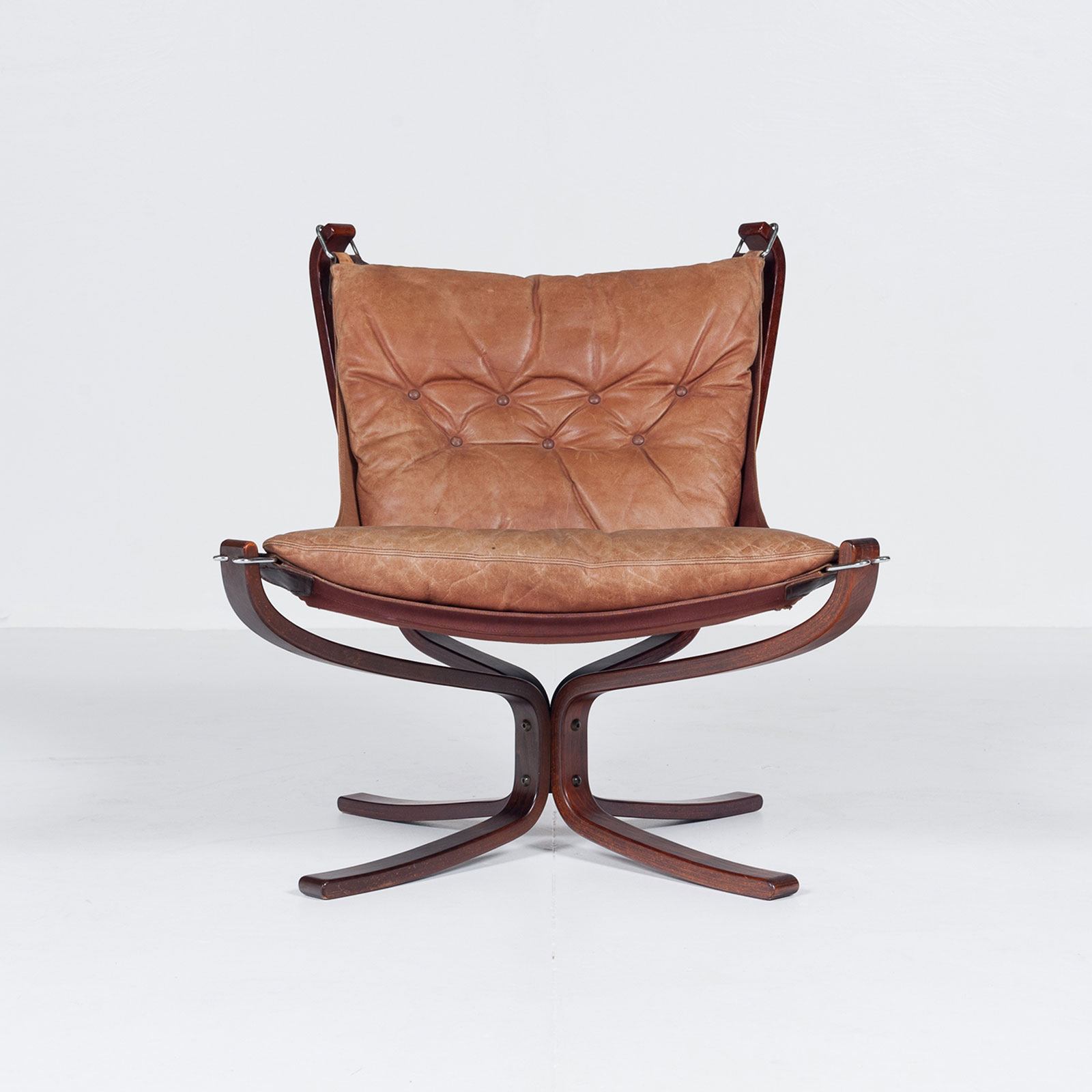 Low Back Falcon Armchair In Tan Leather By Sigurd Ressell For Vatne Mobler, 1971, Norway6699