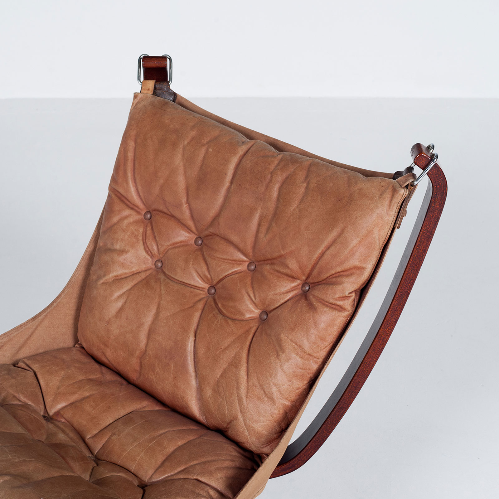 Low Back Falcon Armchair In Tan Leather By Sigurd Ressell For Vatne Mobler, 1971, Norway6705