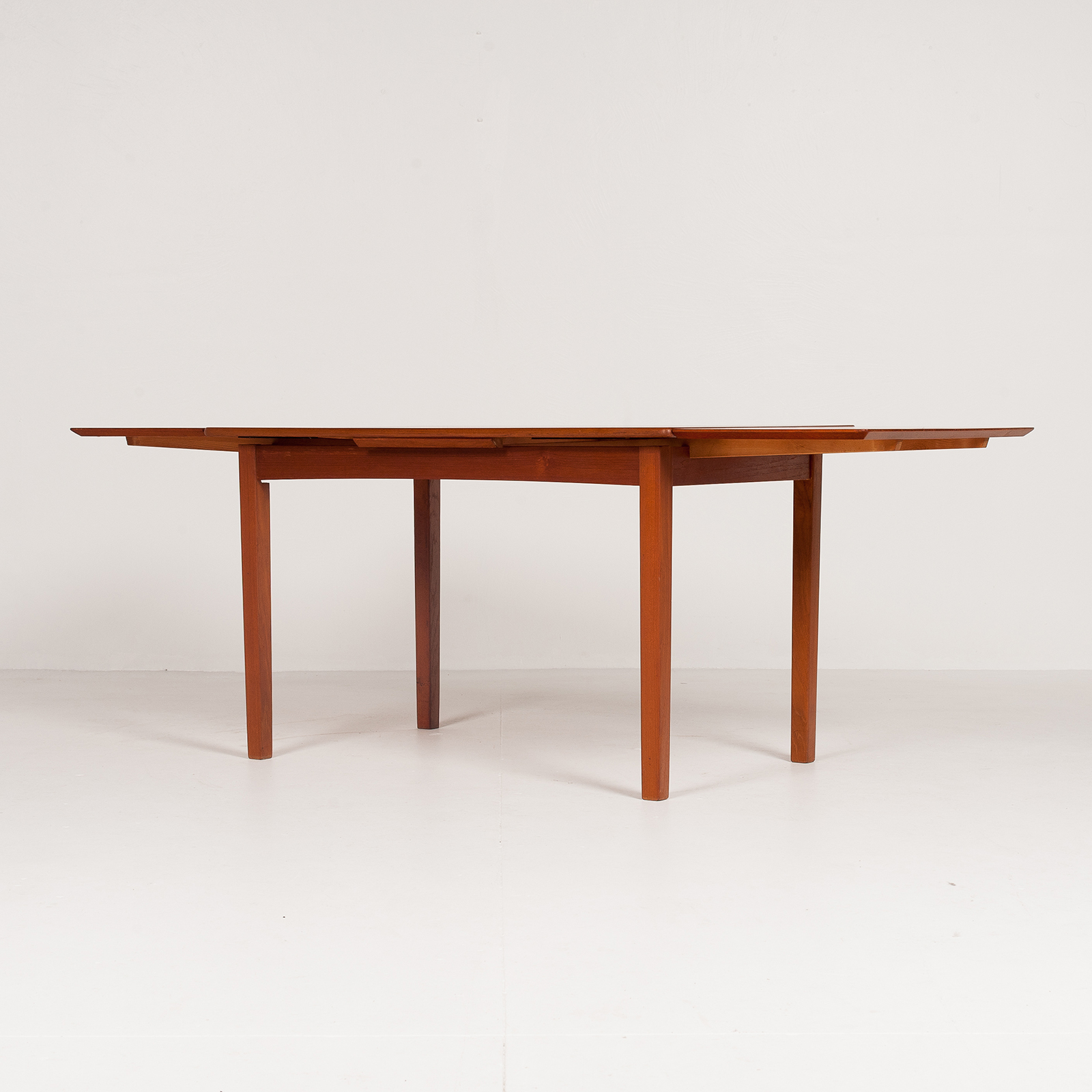 Rectangular Extension Dining Table In Teak With Square Legs, 1960s, Denmark6010