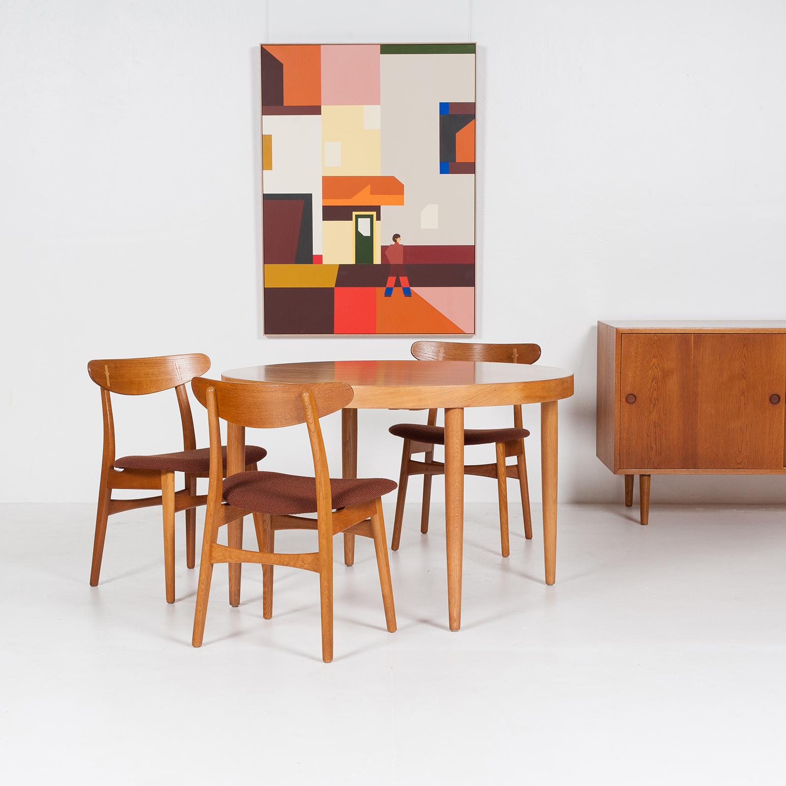 Round Dining Table In The Style Of Kai Kristiansen In Oak, 1960s, Denmark8styled Image Dining Table By H.w Klein Bramin Rosewood