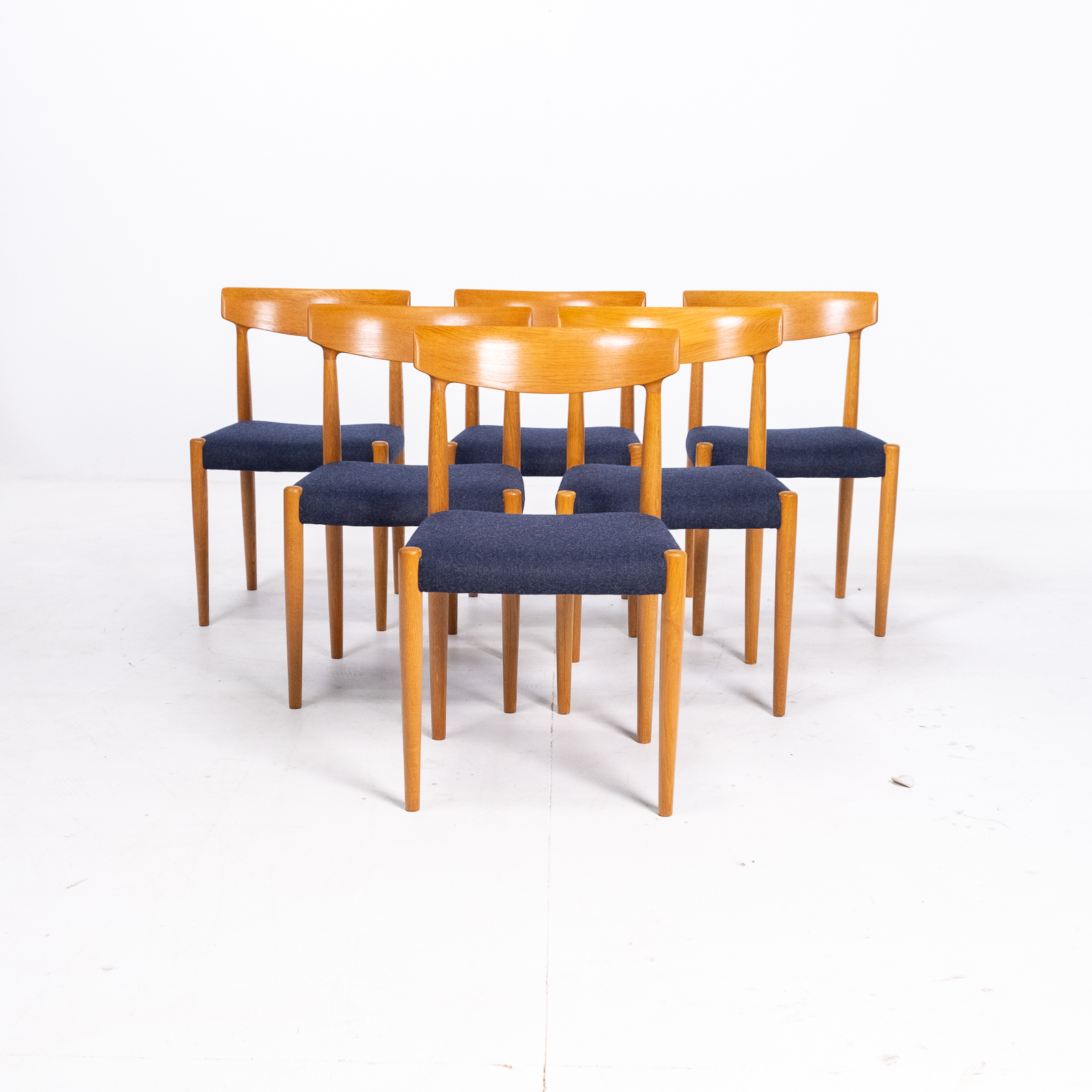 Set Of 6 Dining Chairs By Borge Mogensen For Fdb Mobler In Oak, 1960s, Denmark 00011