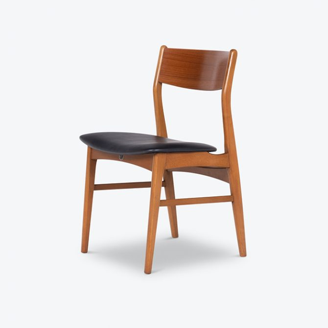 Set Of 6 Dining Chairs In The Style Of Eric Buch With Bowtie Detail In Teak With New Black Upholstery, 1960s, Denmark8396 Thumb