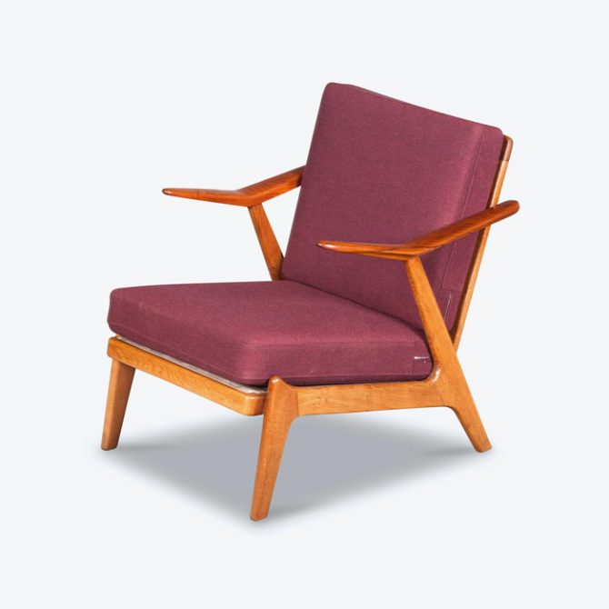 Armchairs by Brockman Petersen in Teak and Oak with Orginal Upholstery, 1960s, Denmark