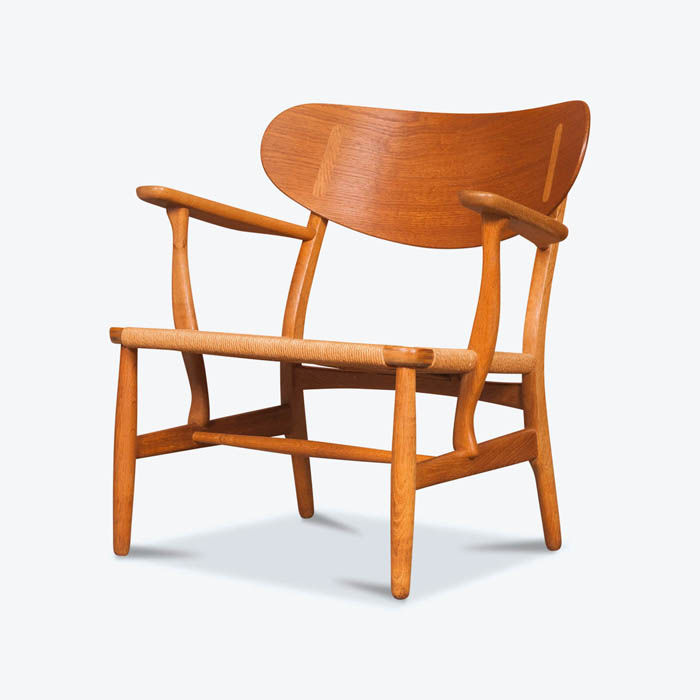 CH22 Shell Back Chair by Hans Wegner in Oak and Danish Cord, 1960s, Denmark